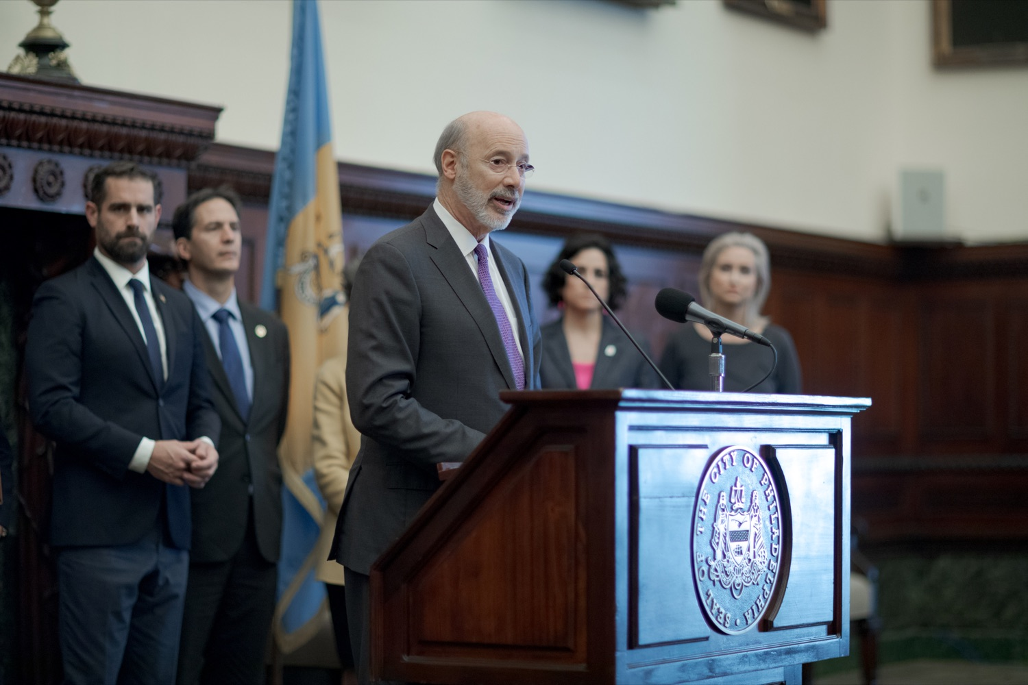 "<a href=""http://filesource.abacast.com/commonwealthofpa/photo/17556_GOV_Heartbeat_Bill_NK_003.JPG"" target=""_blank"">⇣ Download Photo<br></a>Pennsylvania Governor Tom Wolf speaks during a rally against the Heartbeat Bill and in support of women's reproductive rights inside Philadelphia City Hall on Friday, November 1, 2019."
