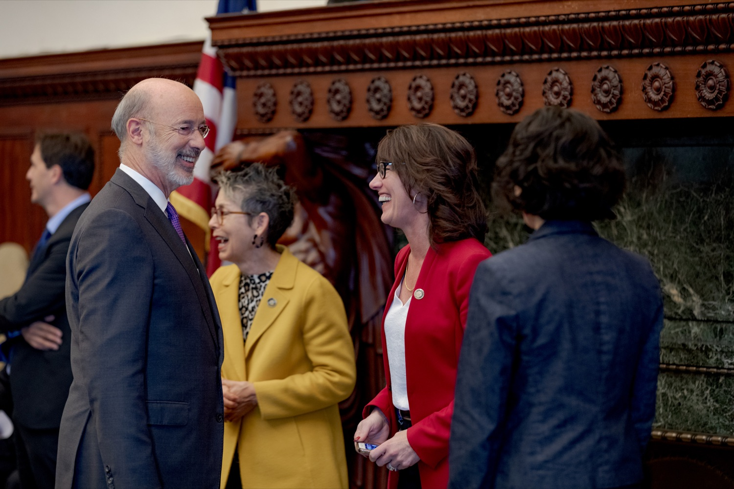 "<a href=""http://filesource.abacast.com/commonwealthofpa/photo/17556_GOV_Heartbeat_Bill_NK_004.JPG"" target=""_blank"">⇣ Download Photo<br></a>Pennsylvania Governor Tom Wolf smiles with Rep. Mary Jo Daley, center left, and Rep. Mary Isaacson, center right, before a rally against the Heartbeat Bill and in support of women's reproductive rights inside Philadelphia City Hall on Friday, November 1, 2019."
