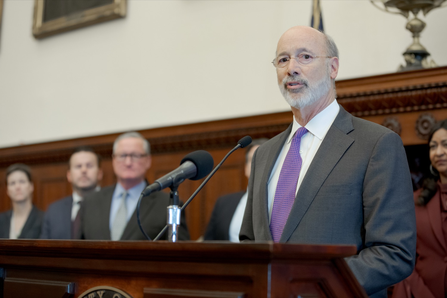"<a href=""http://filesource.abacast.com/commonwealthofpa/photo/17556_GOV_Heartbeat_Bill_NK_009.JPG"" target=""_blank"">⇣ Download Photo<br></a>Pennsylvania Governor Tom Wolf speaks during a rally against the Heartbeat Bill and in support of women's reproductive rights inside Philadelphia City Hall on Friday, November 1, 2019."