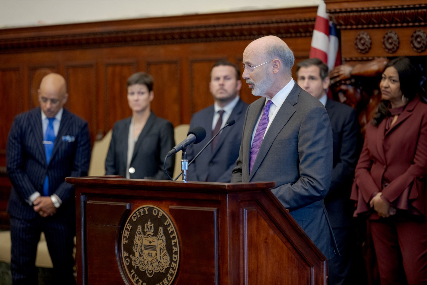 "<a href=""http://filesource.abacast.com/commonwealthofpa/photo/17556_GOV_Heartbeat_Bill_NK_018.JPG"" target=""_blank"">⇣ Download Photo<br></a>Pennsylvania Governor Tom Wolf speaks during a rally against the Heartbeat Bill and in support of women's reproductive rights inside Philadelphia City Hall on Friday, November 1, 2019."