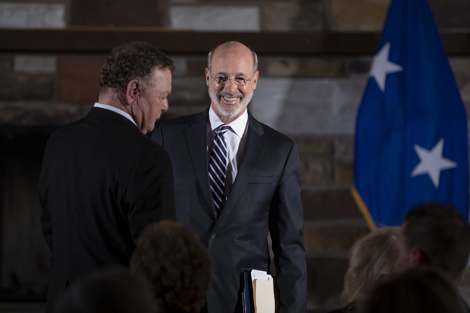 "<a href=""http://filesource.abacast.com/commonwealthofpa/photo/17557_gov_dmva_rjw_001.jpg"" target=""_blank"">⇣ Download Photo<br></a>Governor Tom Wolf helped to honor two members inducted today into the Pennsylvania Department of Military and Veterans Affairs prestigious Hall of Fame, recognizing their exceptional service to the department that supports Pennsylvanias nearly 800,000 veterans and 18,000 members of the National Guard.  Chief Warrant Officer 5 (ret.) John K. Schreier of Selinsgrove, Snyder County; and John A. Brenner (posthumously) of Mt. Wolf, York County, are the 2019 inductees."