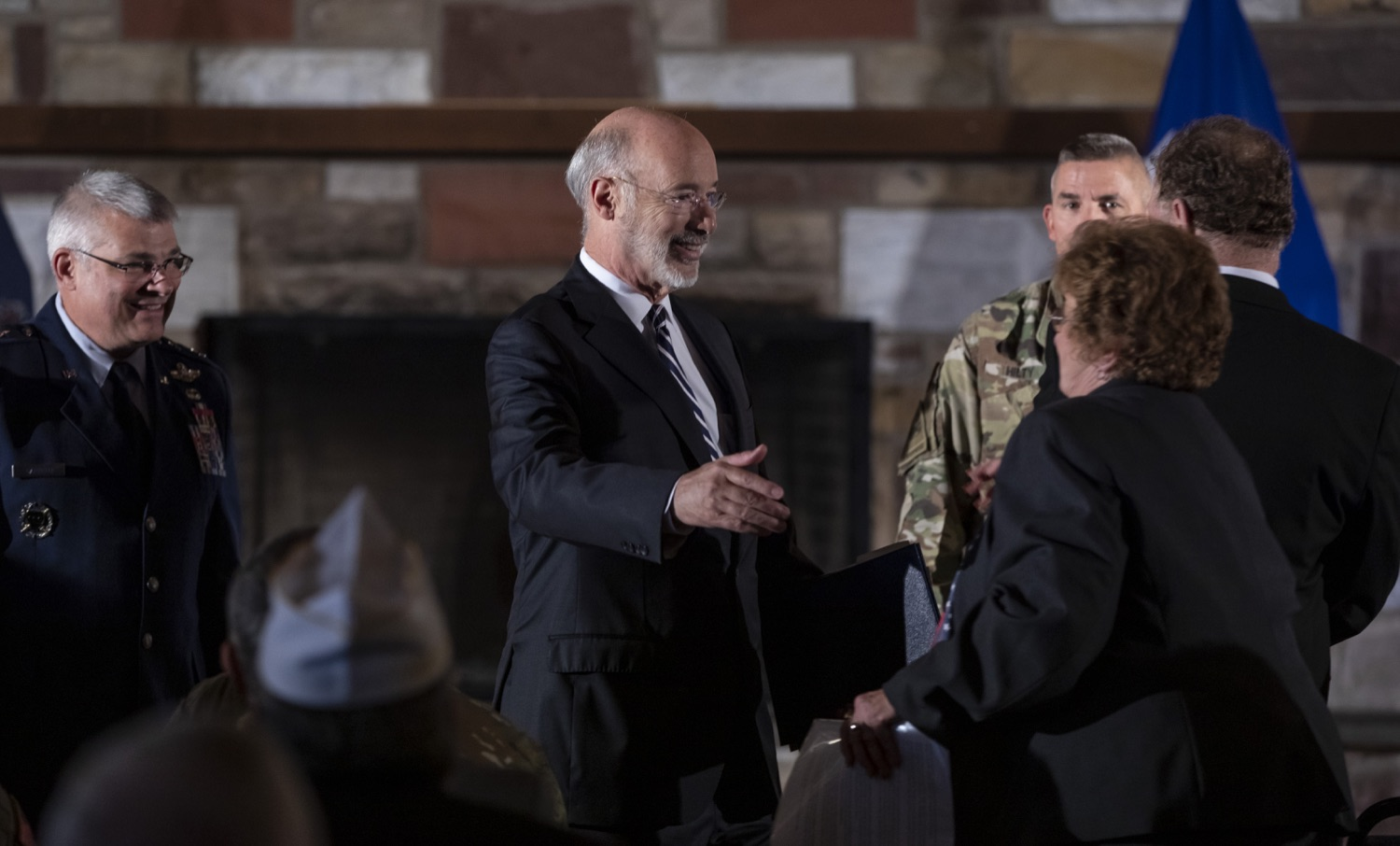 """<a href=""""http://filesource.abacast.com/commonwealthofpa/photo/17557_gov_dmva_rjw_002.jpg"""" target=""""_blank"""">⇣Download Photo<br></a>Governor Tom Wolf helped to honor two members inducted today into the Pennsylvania Department of Military and Veterans Affairs prestigious Hall of Fame, recognizing their exceptional service to the department that supports Pennsylvanias nearly 800,000 veterans and 18,000 members of the National Guard.  Chief Warrant Officer 5 (ret.) John K. Schreier of Selinsgrove, Snyder County; and John A. Brenner (posthumously) of Mt. Wolf, York County, are the 2019 inductees."""