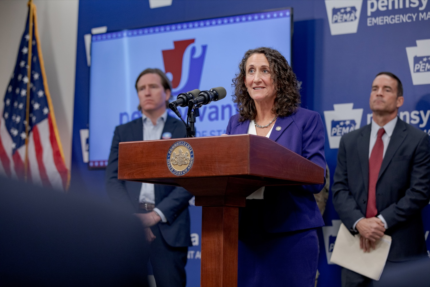 """<a href=""""http://filesource.abacast.com/commonwealthofpa/photo/17558_DOS_Election_Update_NK_001.JPG"""" target=""""_blank"""">⇣Download Photo<br></a>Acting Secretary of State Kathy Boockvar speaks during a press conference assuring Pennsylvanians that a sophisticated network of federal, state and local partnerships is safeguarding todays municipal election, inside PEMA headquarters on Tuesday, November 5, 2019."""