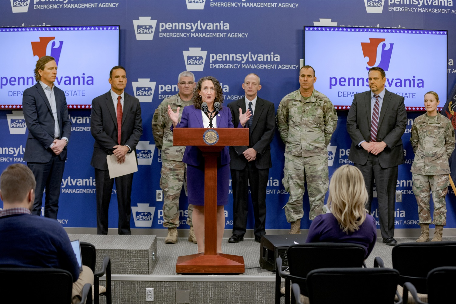 """<a href=""""http://filesource.abacast.com/commonwealthofpa/photo/17558_DOS_Election_Update_NK_002.JPG"""" target=""""_blank"""">⇣Download Photo<br></a>Acting Secretary of State Kathy Boockvar speaks during a press conference assuring Pennsylvanians that a sophisticated network of federal, state and local partnerships is safeguarding todays municipal election, inside PEMA headquarters on Tuesday, November 5, 2019."""