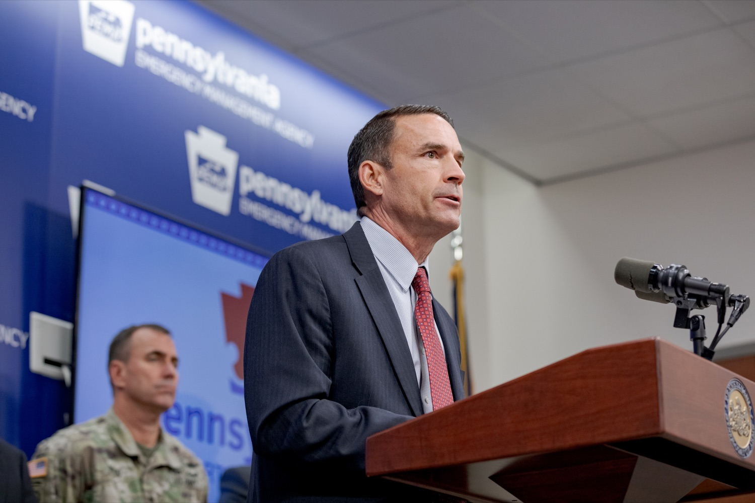 "<a href=""http://filesource.abacast.com/commonwealthofpa/photo/17558_DOS_Election_Update_NK_003.JPG"" target=""_blank"">⇣ Download Photo<br></a>Marcus Brown, director of the Governor's Office of Homeland Security, speaks during a press conference assuring Pennsylvanians that a sophisticated network of federal, state and local partnerships is safeguarding todays municipal election, inside PEMA headquarters on Tuesday, November 5, 2019."