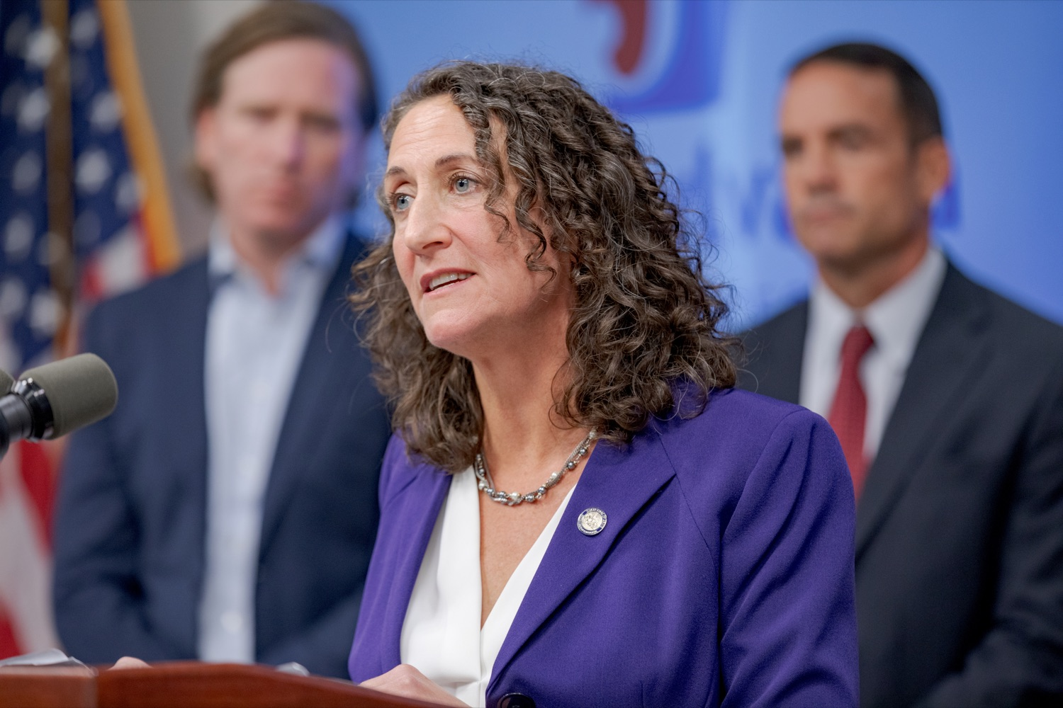 """<a href=""""http://filesource.abacast.com/commonwealthofpa/photo/17558_DOS_Election_Update_NK_005.JPG"""" target=""""_blank"""">⇣Download Photo<br></a>Acting Secretary of State Kathy Boockvar speaks during a press conference assuring Pennsylvanians that a sophisticated network of federal, state and local partnerships is safeguarding todays municipal election, inside PEMA headquarters on Tuesday, November 5, 2019."""