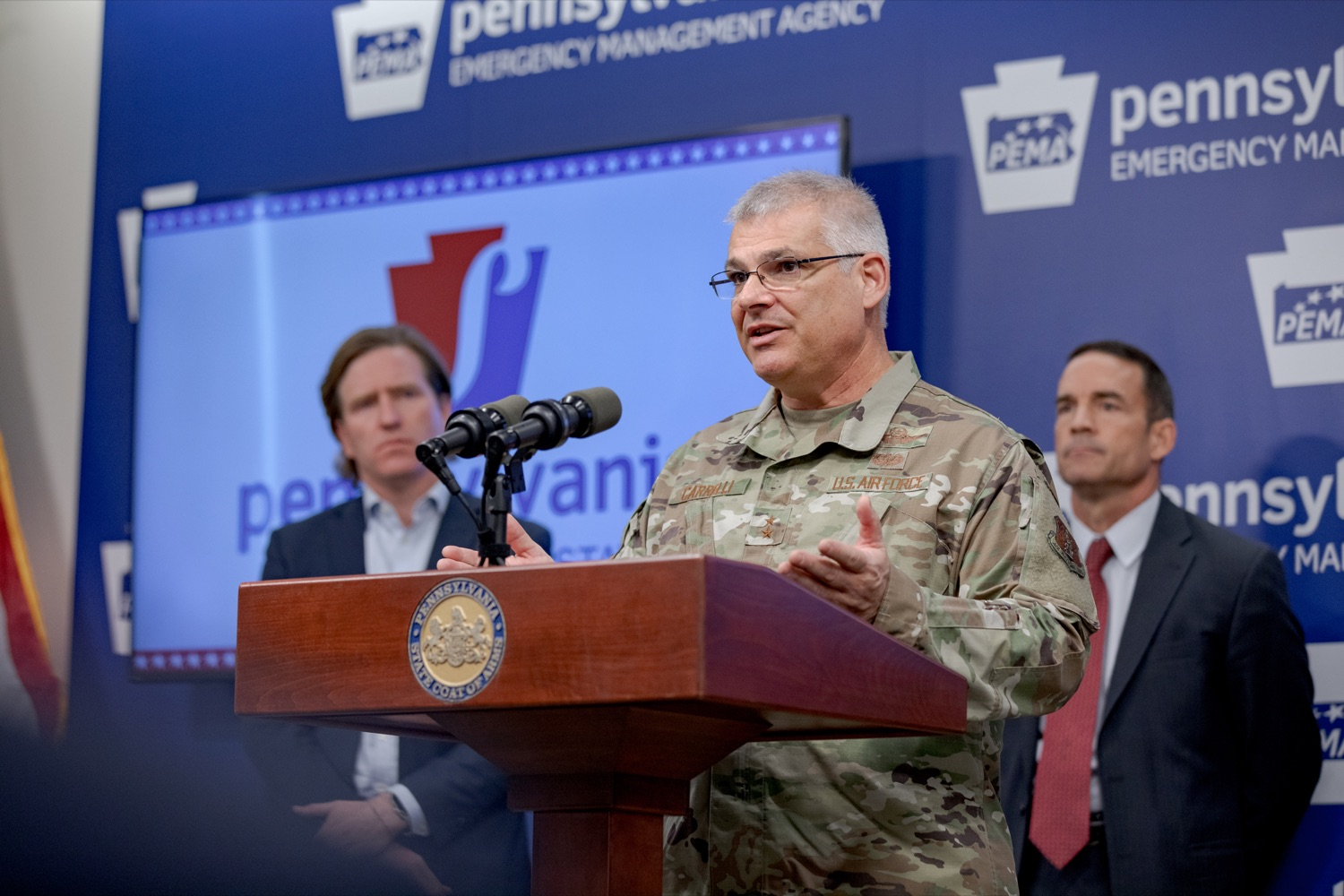 """<a href=""""http://filesource.abacast.com/commonwealthofpa/photo/17558_DOS_Election_Update_NK_006.JPG"""" target=""""_blank"""">⇣Download Photo<br></a>Major General Anthony Carrelli, Adjutant General of the PA National Guard, speaks during a press conference assuring Pennsylvanians that a sophisticated network of federal, state and local partnerships is safeguarding todays municipal election, inside PEMA headquarters on Tuesday, November 5, 2019."""