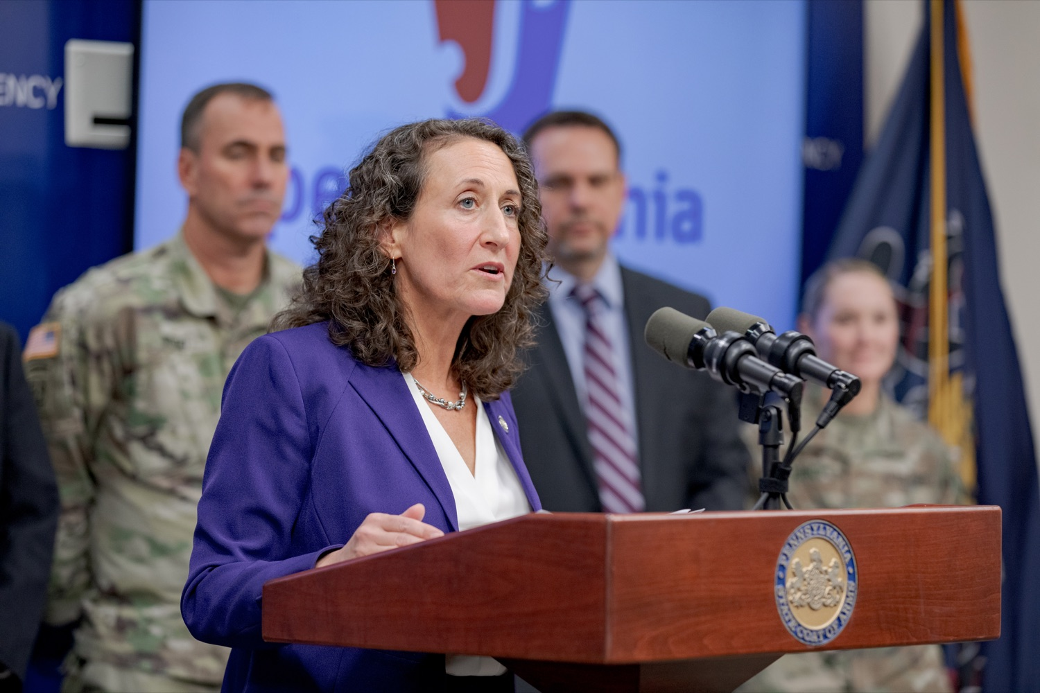 """<a href=""""http://filesource.abacast.com/commonwealthofpa/photo/17558_DOS_Election_Update_NK_009.JPG"""" target=""""_blank"""">⇣Download Photo<br></a>Acting Secretary of State Kathy Boockvar speaks during a press conference assuring Pennsylvanians that a sophisticated network of federal, state and local partnerships is safeguarding todays municipal election, inside PEMA headquarters on Tuesday, November 5, 2019."""