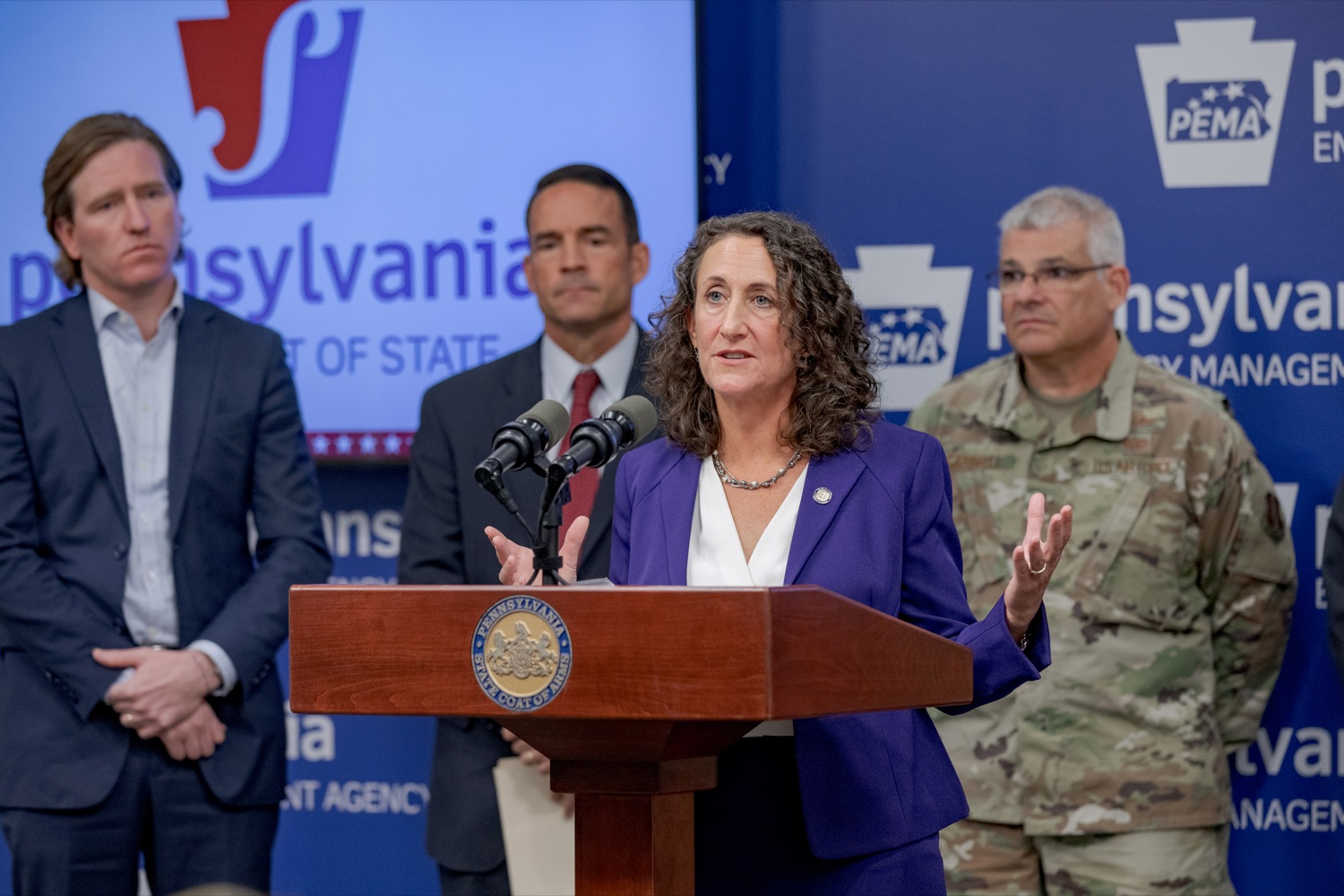 """<a href=""""http://filesource.abacast.com/commonwealthofpa/photo/17558_DOS_Election_Update_NK_010.JPG"""" target=""""_blank"""">⇣Download Photo<br></a>Acting Secretary of State Kathy Boockvar speaks during a press conference assuring Pennsylvanians that a sophisticated network of federal, state and local partnerships is safeguarding todays municipal election, inside PEMA headquarters on Tuesday, November 5, 2019."""