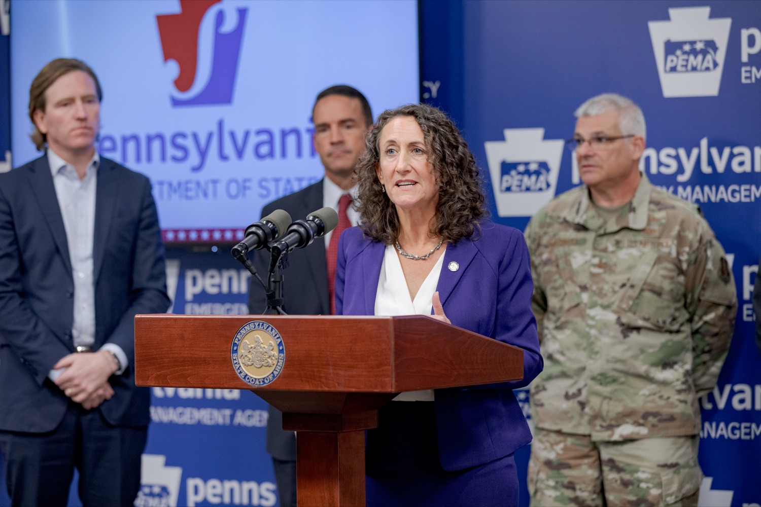 """<a href=""""http://filesource.abacast.com/commonwealthofpa/photo/17558_DOS_Election_Update_NK_012.JPG"""" target=""""_blank"""">⇣Download Photo<br></a>Acting Secretary of State Kathy Boockvar speaks during a press conference assuring Pennsylvanians that a sophisticated network of federal, state and local partnerships is safeguarding todays municipal election, inside PEMA headquarters on Tuesday, November 5, 2019."""