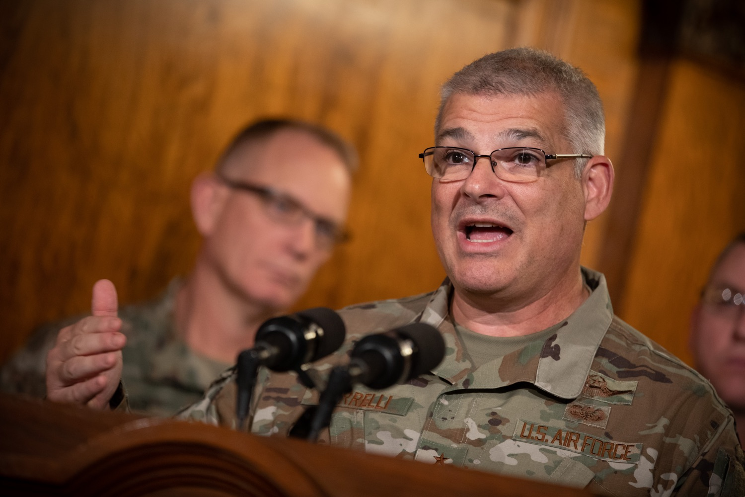"""<a href=""""http://filesource.abacast.com/commonwealthofpa/photo/17563_gov_giBill_dz_002.jpg"""" target=""""_blank"""">⇣Download Photo<br></a>Maj. Gen. Anthony Carelli speaking at the announcement.Governor Tom Wolf, joined by Pennsylvanias adjutant general and head of the Department of Military and Veterans Affairs Maj. Gen. Anthony Carelli, legislators and PA National Guard members and their families, encouraged PA National Guard members to take advantage of the new Military Family Education Program, or PA GI bill, now open for enrollment. Harrisburg, PA Monday, November 4 2019"""