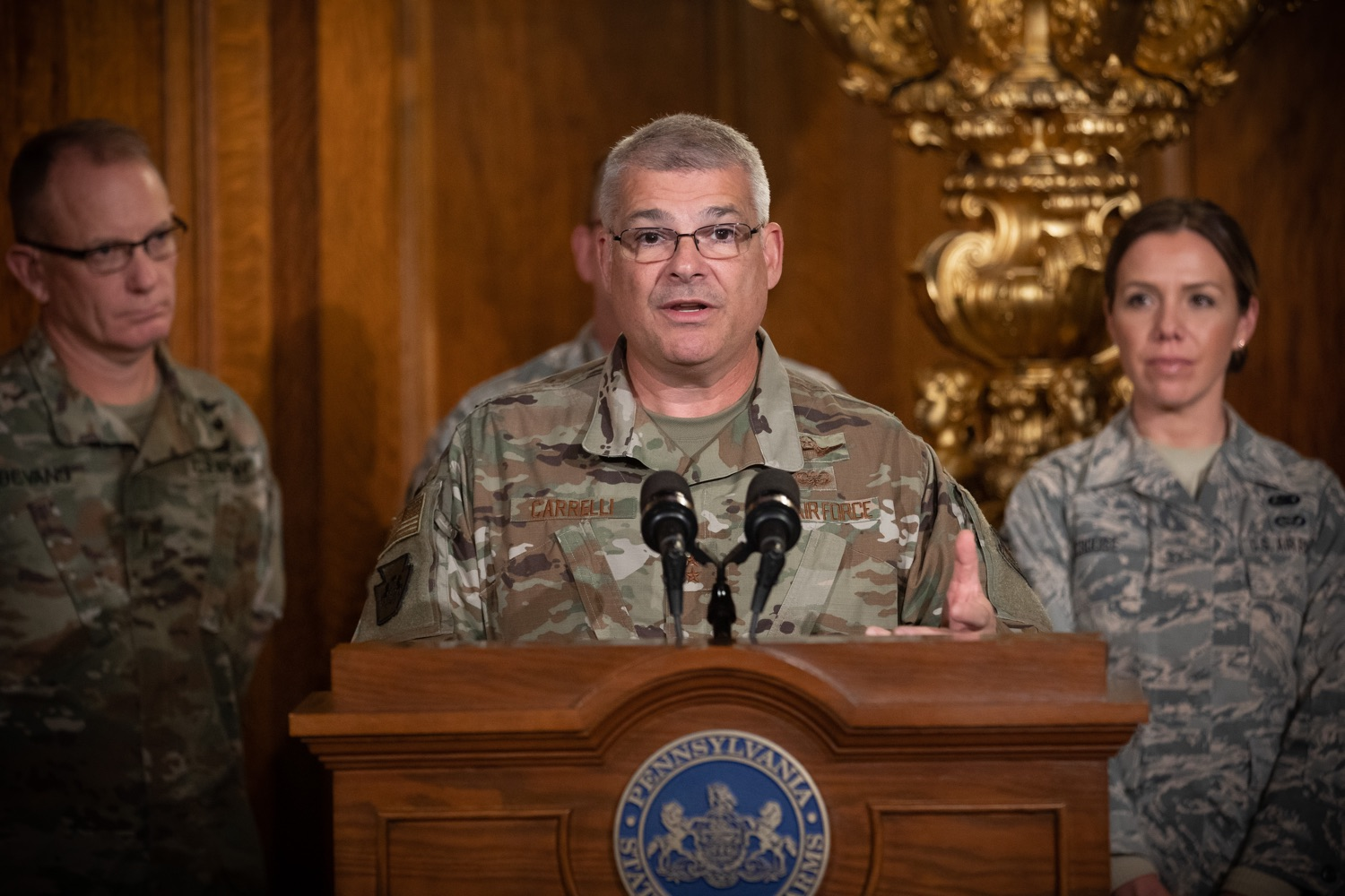 """<a href=""""http://filesource.abacast.com/commonwealthofpa/photo/17563_gov_giBill_dz_009.jpg"""" target=""""_blank"""">⇣Download Photo<br></a>Maj. Gen. Anthony Carelli speaking at the announcement.Governor Tom Wolf, joined by Pennsylvanias adjutant general and head of the Department of Military and Veterans Affairs Maj. Gen. Anthony Carelli, legislators and PA National Guard members and their families, encouraged PA National Guard members to take advantage of the new Military Family Education Program, or PA GI bill, now open for enrollment. Harrisburg, PA Monday, November 4 2019"""