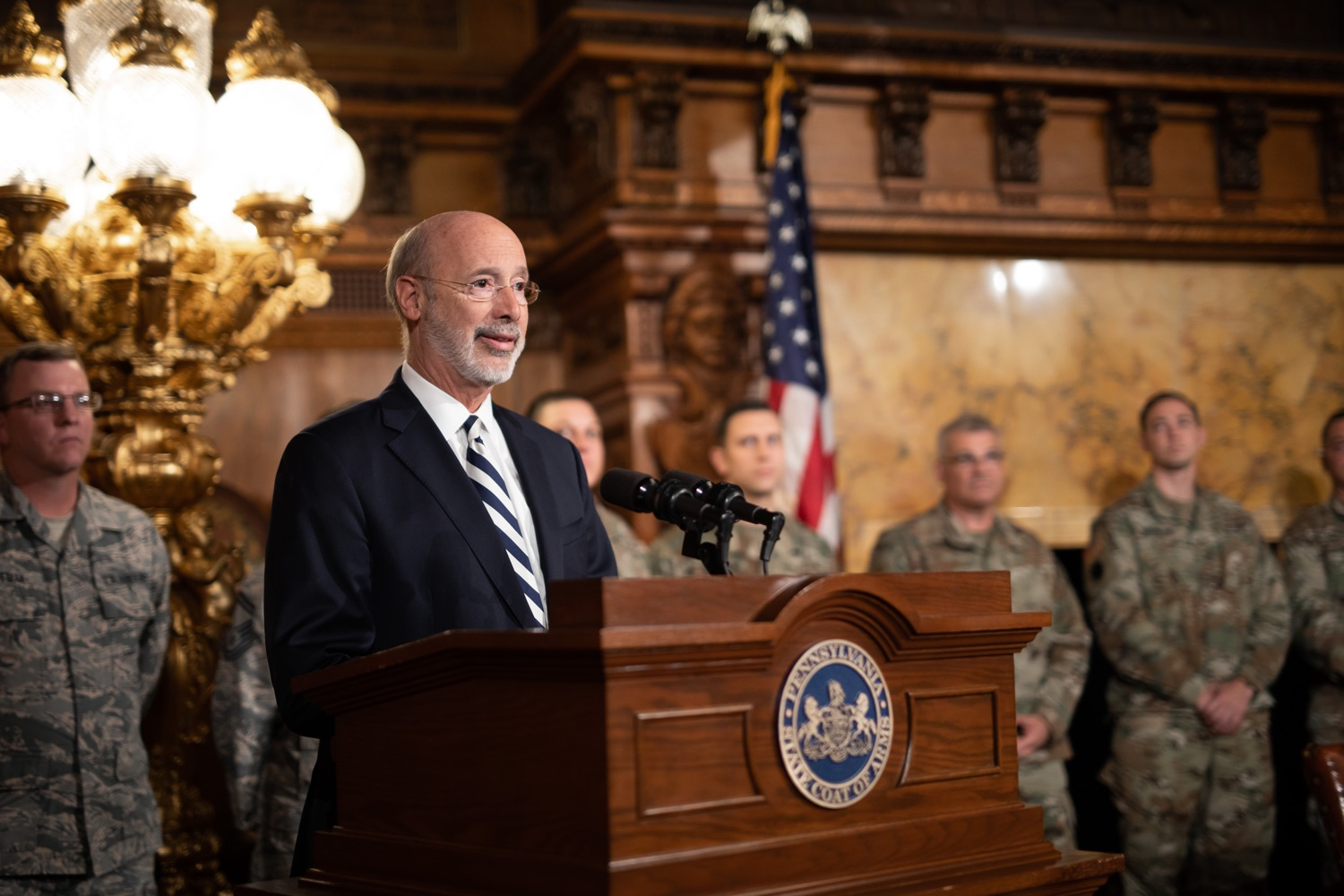 """<a href=""""http://filesource.abacast.com/commonwealthofpa/photo/17563_gov_giBill_dz_010.jpg"""" target=""""_blank"""">⇣Download Photo<br></a>Governor Tom Wolf speaking at the announcement. Governor Tom Wolf, joined by Pennsylvanias adjutant general and head of the Department of Military and Veterans Affairs Maj. Gen. Anthony Carelli, legislators and PA National Guard members and their families, encouraged PA National Guard members to take advantage of the new Military Family Education Program, or PA GI bill, now open for enrollment. Harrisburg, PA Monday, November 4 2019"""