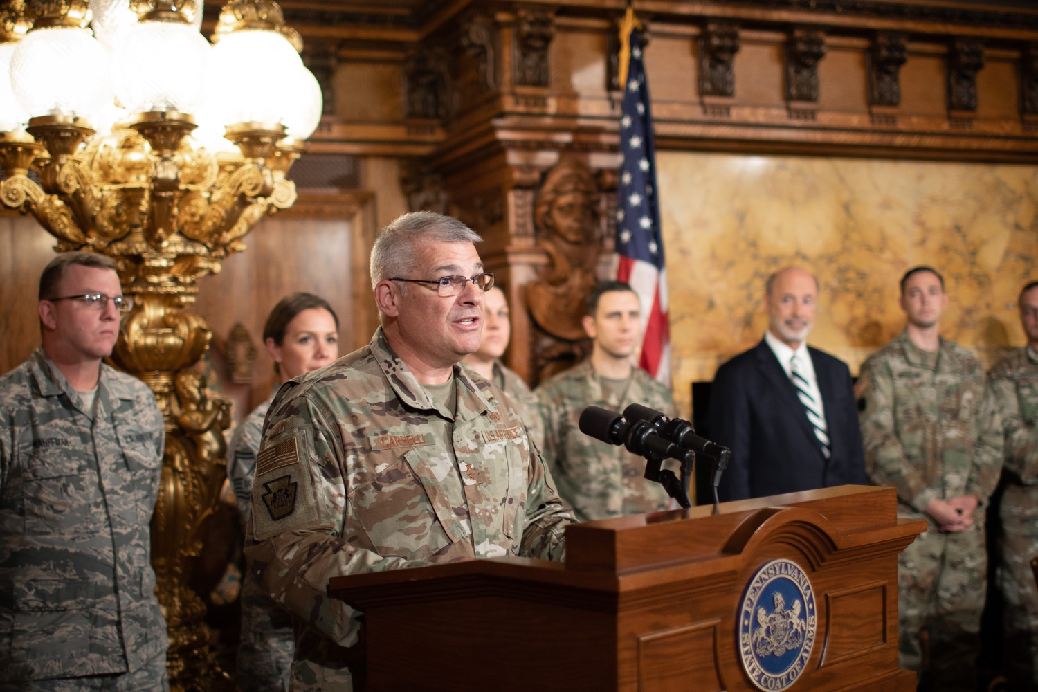 """<a href=""""http://filesource.abacast.com/commonwealthofpa/photo/17563_gov_giBill_dz_012.jpg"""" target=""""_blank"""">⇣Download Photo<br></a>Maj. Gen. Anthony Carelli speaking at the announcement.Governor Tom Wolf, joined by Pennsylvanias adjutant general and head of the Department of Military and Veterans Affairs Maj. Gen. Anthony Carelli, legislators and PA National Guard members and their families, encouraged PA National Guard members to take advantage of the new Military Family Education Program, or PA GI bill, now open for enrollment. Harrisburg, PA Monday, November 4 2019"""