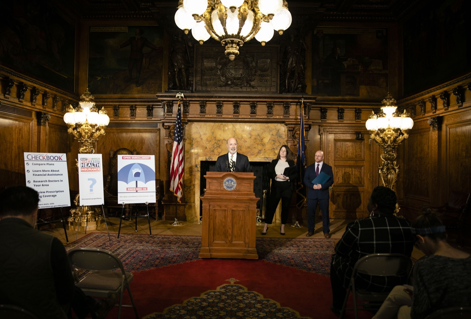 "<a href=""http://filesource.abacast.com/commonwealthofpa/photo/17564_GOV_aca_amb_001.jpg"" target=""_blank"">⇣ Download Photo<br></a>Governor Tom Wolf and Insurance Commissioner Jessica Altman advised Pennsylvanians that now is the time to buy health insurance on the federal exchange, healthcare.gov, as open enrollment continues for Affordable Care Act (ACA) plans through Dec. 15. Consumers have more options in Pennsylvania, and many will find they qualify for subsidies. November 7, 2019. Harrisburg, PA."