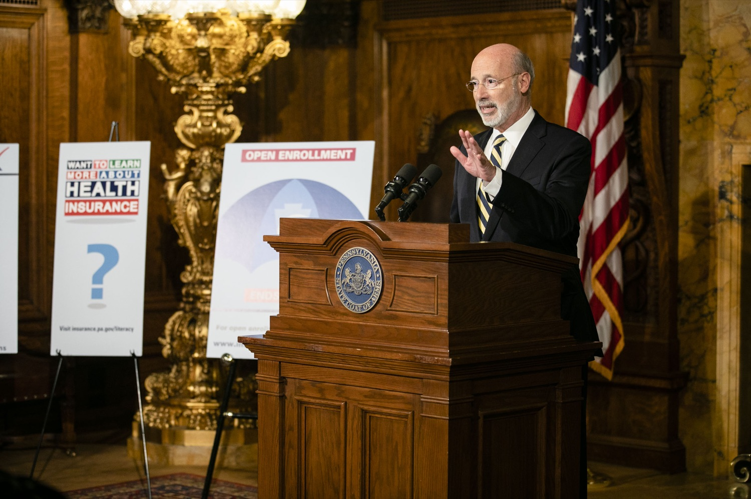 "<a href=""http://filesource.abacast.com/commonwealthofpa/photo/17564_GOV_aca_amb_002.jpg"" target=""_blank"">⇣ Download Photo<br></a>Governor Tom Wolf and Insurance Commissioner Jessica Altman advised Pennsylvanians that now is the time to buy health insurance on the federal exchange, healthcare.gov, as open enrollment continues for Affordable Care Act (ACA) plans through Dec. 15. Consumers have more options in Pennsylvania, and many will find they qualify for subsidies. November 7, 2019. Harrisburg, PA."