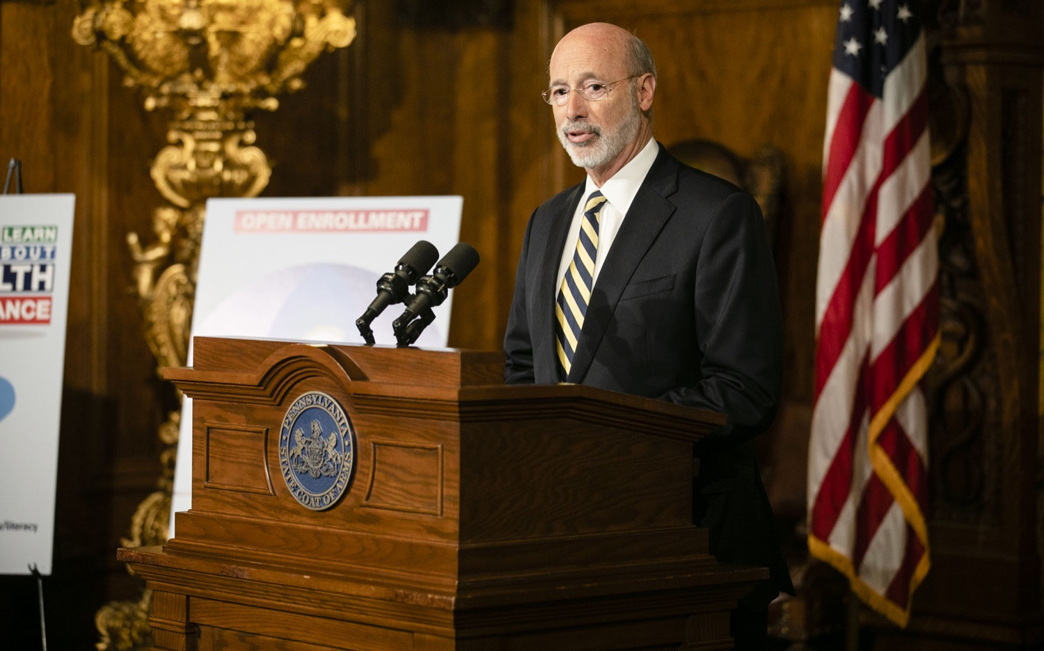 "<a href=""http://filesource.abacast.com/commonwealthofpa/photo/17564_GOV_aca_amb_003.jpg"" target=""_blank"">⇣ Download Photo<br></a>Governor Tom Wolf and Insurance Commissioner Jessica Altman advised Pennsylvanians that now is the time to buy health insurance on the federal exchange, healthcare.gov, as open enrollment continues for Affordable Care Act (ACA) plans through Dec. 15. Consumers have more options in Pennsylvania, and many will find they qualify for subsidies. November 7, 2019. Harrisburg, PA."