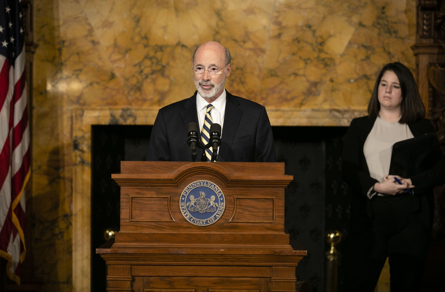 "<a href=""http://filesource.abacast.com/commonwealthofpa/photo/17564_GOV_aca_amb_004.jpg"" target=""_blank"">⇣ Download Photo<br></a>Governor Tom Wolf and Insurance Commissioner Jessica Altman advised Pennsylvanians that now is the time to buy health insurance on the federal exchange, healthcare.gov, as open enrollment continues for Affordable Care Act (ACA) plans through Dec. 15. Consumers have more options in Pennsylvania, and many will find they qualify for subsidies. November 7, 2019. Harrisburg, PA."