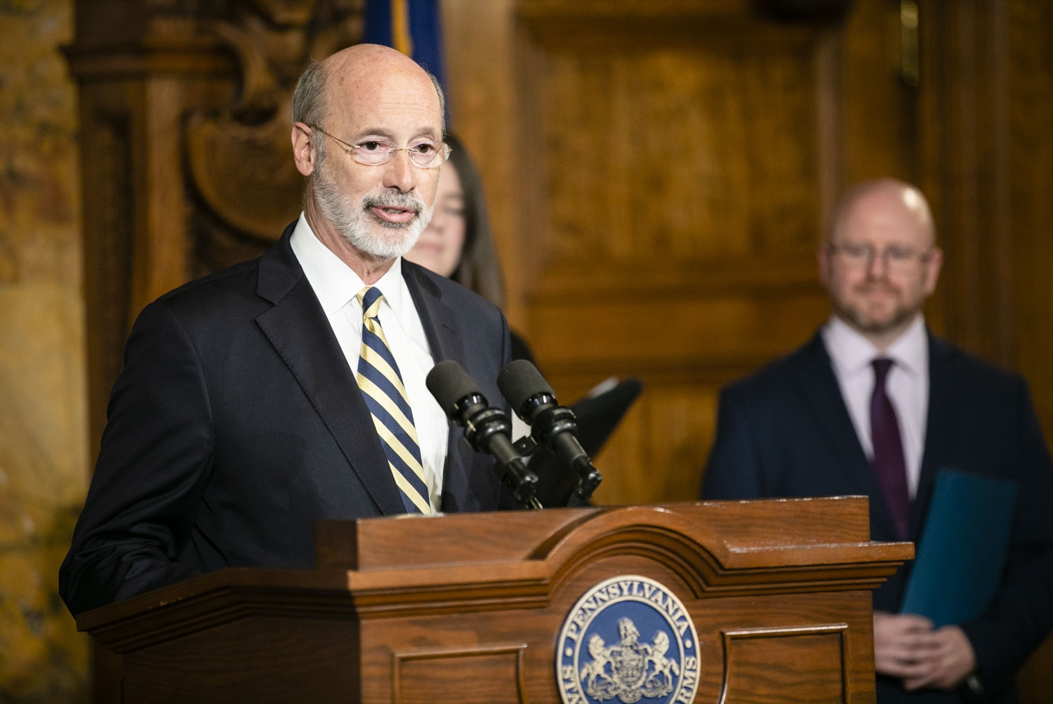"<a href=""http://filesource.abacast.com/commonwealthofpa/photo/17564_GOV_aca_amb_007.jpg"" target=""_blank"">⇣ Download Photo<br></a>Governor Tom Wolf and Insurance Commissioner Jessica Altman advised Pennsylvanians that now is the time to buy health insurance on the federal exchange, healthcare.gov, as open enrollment continues for Affordable Care Act (ACA) plans through Dec. 15. Consumers have more options in Pennsylvania, and many will find they qualify for subsidies. November 7, 2019. Harrisburg, PA."