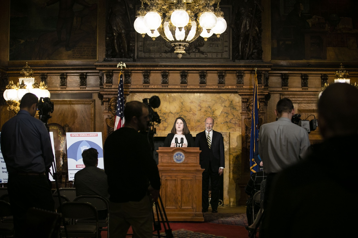"<a href=""http://filesource.abacast.com/commonwealthofpa/photo/17564_GOV_aca_amb_010.jpg"" target=""_blank"">⇣ Download Photo<br></a>Governor Tom Wolf and Insurance Commissioner Jessica Altman advised Pennsylvanians that now is the time to buy health insurance on the federal exchange, healthcare.gov, as open enrollment continues for Affordable Care Act (ACA) plans through Dec. 15. Consumers have more options in Pennsylvania, and many will find they qualify for subsidies. November 7, 2019. Harrisburg, PA."