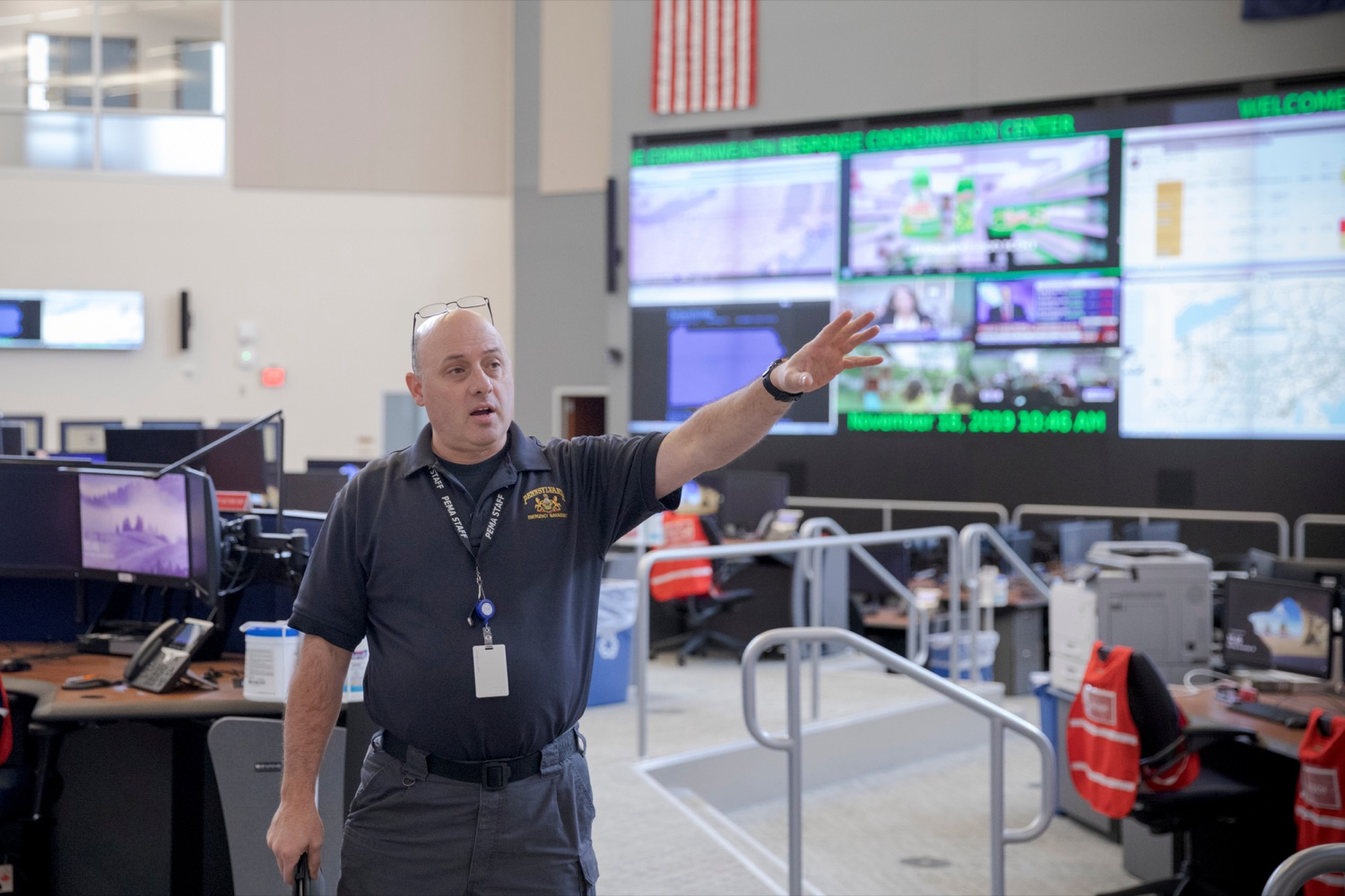 "<a href=""http://filesource.abacast.com/commonwealthofpa/photo/17571_PSP_Thanksgiving_NK_002.JPG"" target=""_blank"">⇣ Download Photo<br></a>Robert Then, commonwealth response coordination center manager for Pennsylvania Emergency Management Agency (PEMA), gives a tour inside the building on Monday, November 18, 2019."