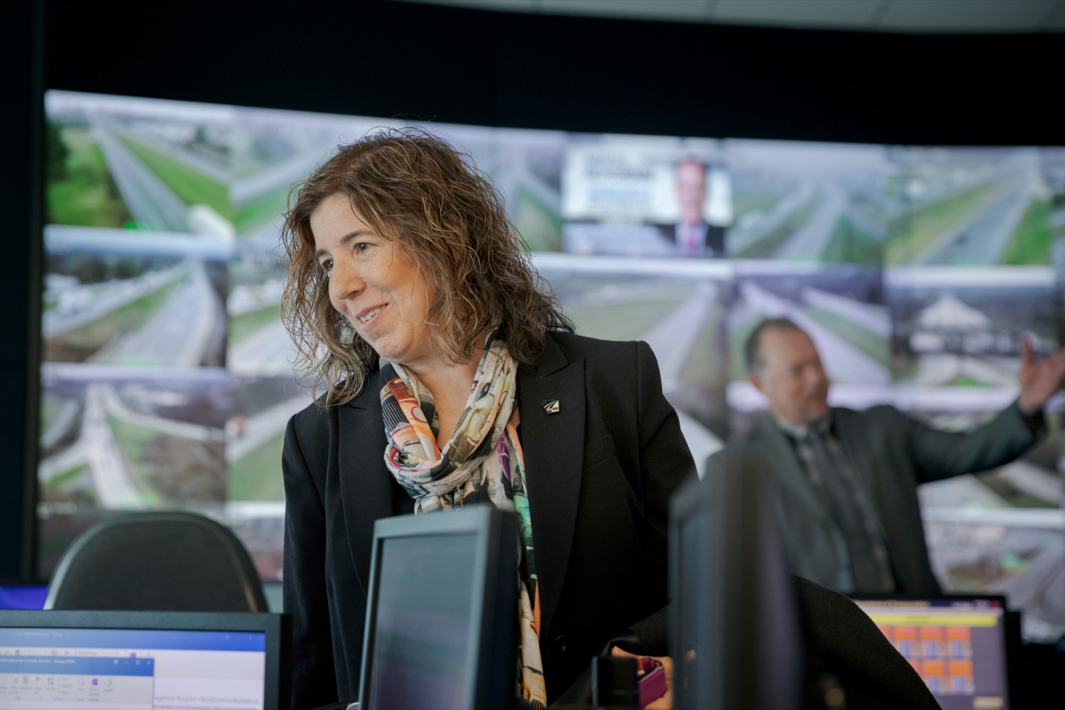 "<a href=""http://filesource.abacast.com/commonwealthofpa/photo/17571_PSP_Thanksgiving_NK_006.JPG"" target=""_blank"">⇣ Download Photo<br></a>PennDOT Secretary Leslie S. Richards smiles inside the PennDOT Regional Traffic Management Center at the Pennsylvania Emergency Management Agency (PEMA) on Monday, November 18, 2019."