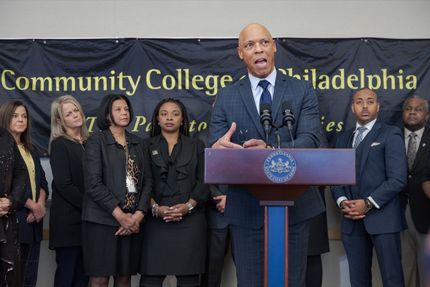 "<a href=""http://filesource.abacast.com/commonwealthofpa/photo/17592_EDU_Aspiring_NK_002.JPG"" target=""_blank"">⇣ Download Photo<br></a>Dr. William Hite, the superintendent of the School District of Philadelphia, speaks during a press conference, announcing the School District of Philadelphia's new pilot program, Aspiring to Educate, that aims to cultivate and diversify the citys educator pool, inside Community College of Philadelphia's Center for Business and Industry on Wednesday, November 20, 2019."