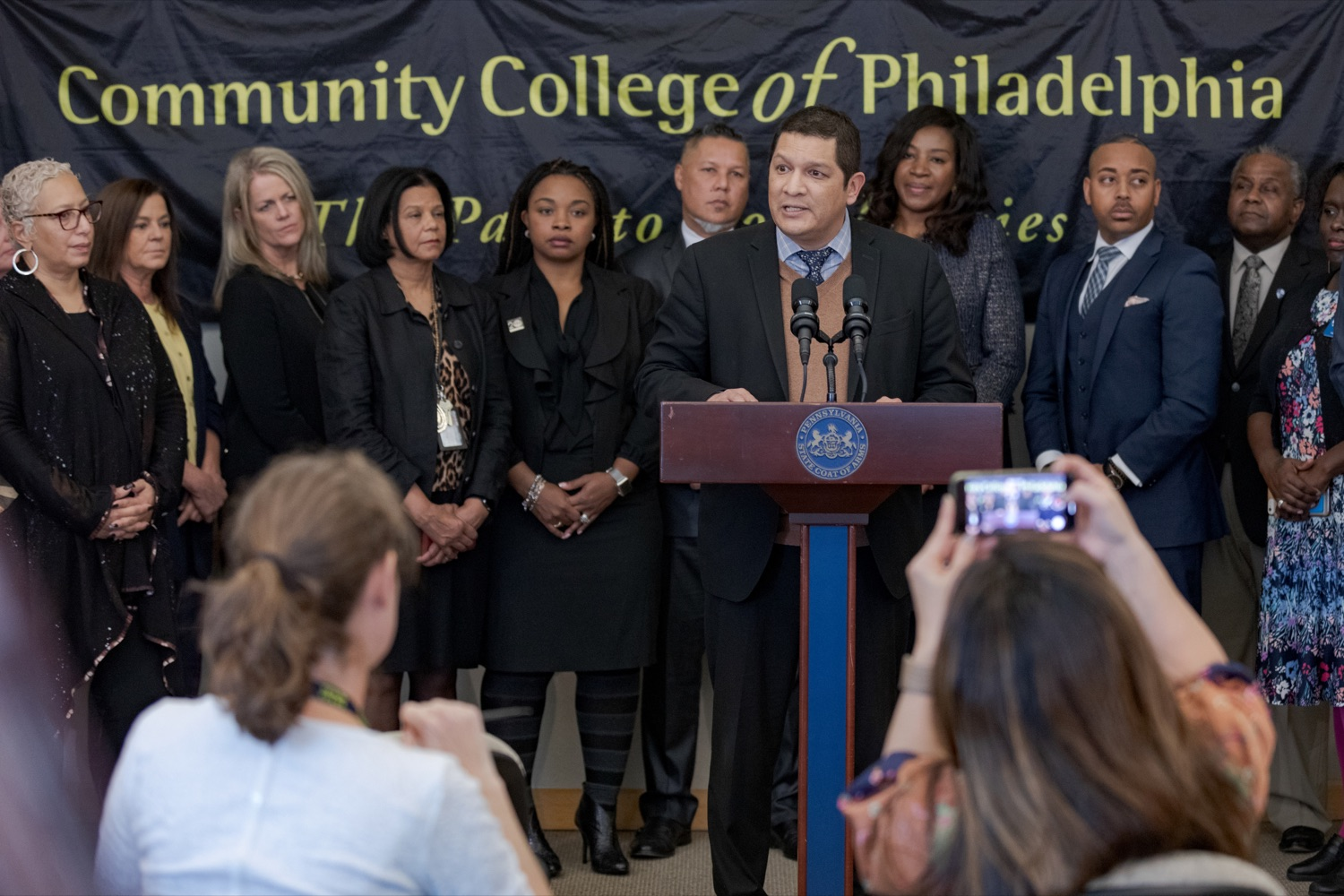 "<a href=""http://filesource.abacast.com/commonwealthofpa/photo/17592_EDU_Aspiring_NK_007.JPG"" target=""_blank"">⇣ Download Photo<br></a>Noe Ortega, Pennsylvania deputy secretary for post secondary and higher education, speaks during a press conference, announcing the School District of Philadelphia's new pilot program, Aspiring to Educate, that aims to cultivate and diversify the citys educator pool, inside Community College of Philadelphia's Center for Business and Industry on Wednesday, November 20, 2019."