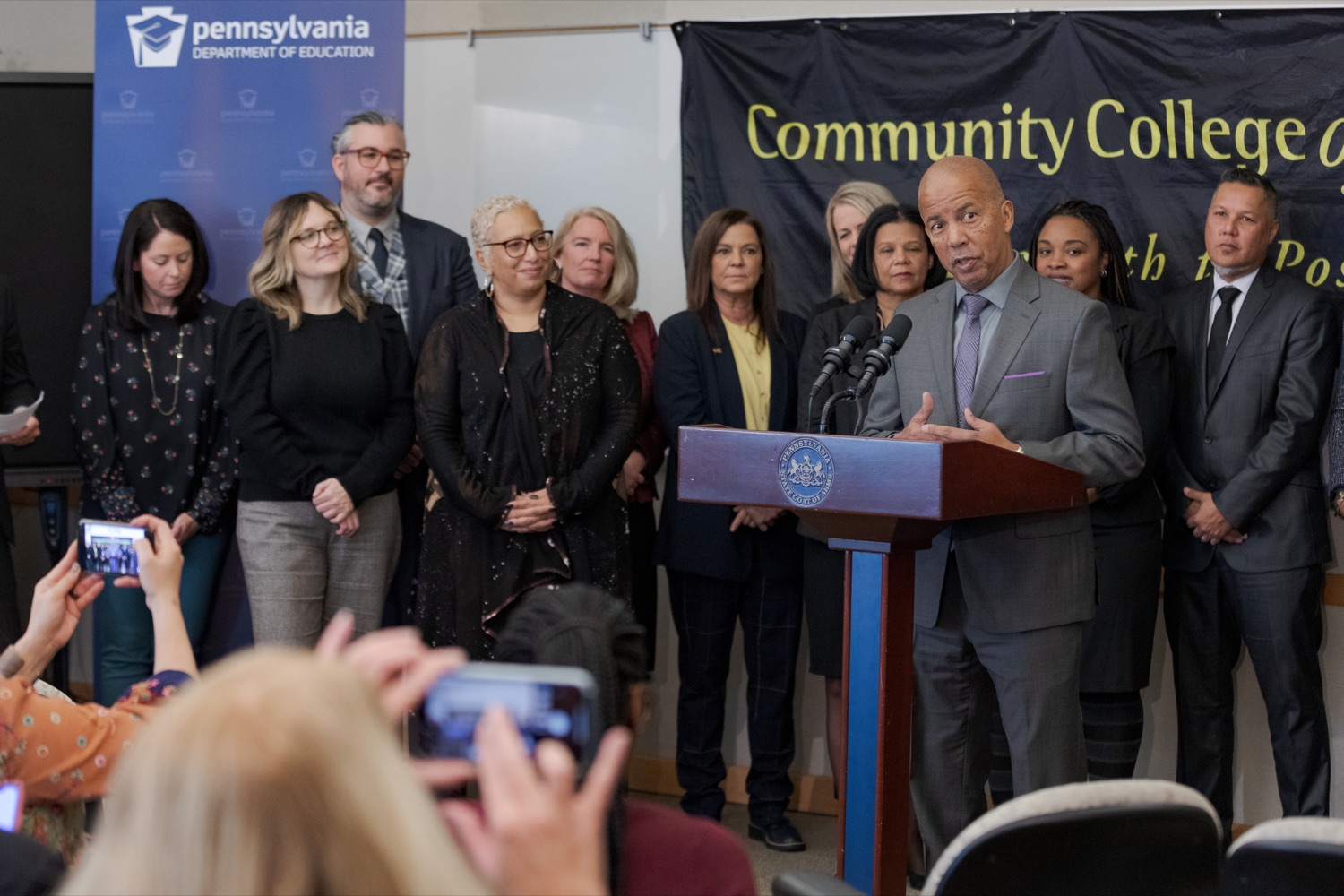 "<a href=""http://filesource.abacast.com/commonwealthofpa/photo/17592_EDU_Aspiring_NK_009.JPG"" target=""_blank"">⇣ Download Photo<br></a>Dr. Donald Guy Generals, president of the Community College of Philadelphia, speaks during a press conference, announcing the School District of Philadelphia's new pilot program, Aspiring to Educate, that aims to cultivate and diversify the citys educator pool, inside Community College of Philadelphia's Center for Business and Industry on Wednesday, November 20, 2019."