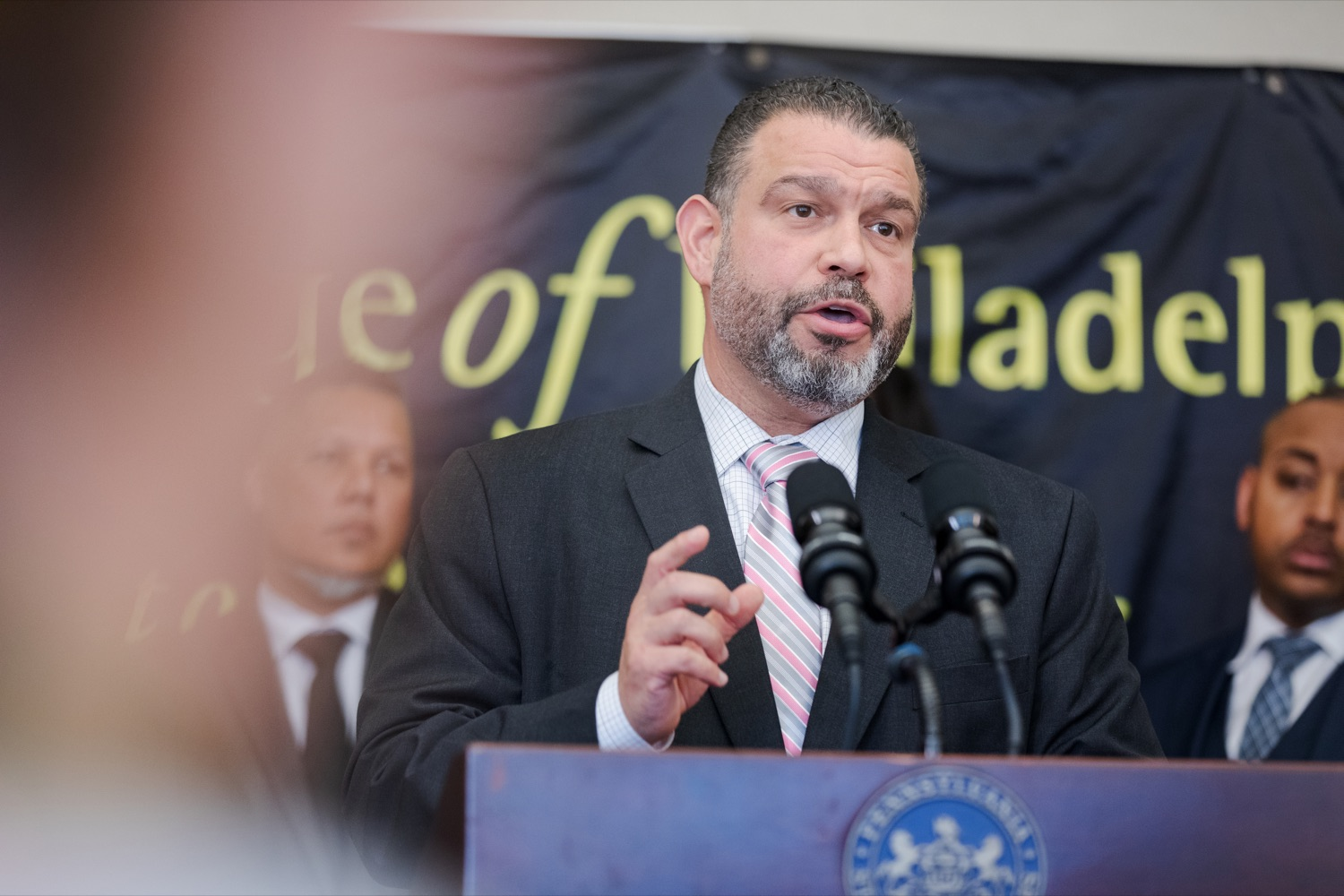 "<a href=""http://filesource.abacast.com/commonwealthofpa/photo/17592_EDU_Aspiring_NK_012.JPG"" target=""_blank"">⇣ Download Photo<br></a>Noe Ortega, Pennsylvania deputy secretary for post secondary and higher education, speaks during a press conference, announcing the School District of Philadelphia's new pilot program, Aspiring to Educate, that aims to cultivate and diversify the citys educator pool, inside Community College of Philadelphia's Center for Business and Industry on Wednesday, November 20, 2019."