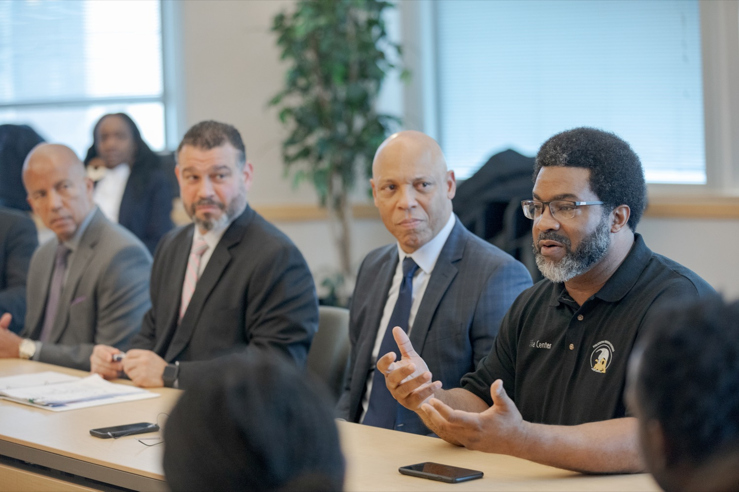 "<a href=""http://filesource.abacast.com/commonwealthofpa/photo/17592_EDU_Aspiring_NK_018.JPG"" target=""_blank"">⇣ Download Photo<br></a>Sharif El-Mekki, founder of the Center for Black Educator Development, right, speaks before a press conference, announcing the School District of Philadelphia's new pilot program, Aspiring to Educate, that aims to cultivate and diversify the citys educator pool, inside Community College of Philadelphia's Center for Business and Industry on Wednesday, November 20, 2019."