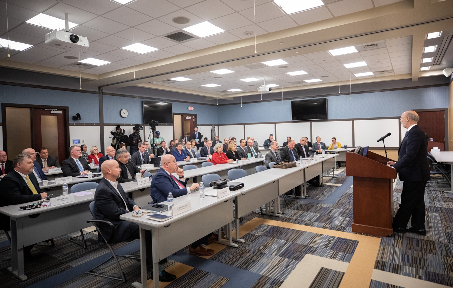 "<a href=""http://filesource.abacast.com/commonwealthofpa/photo/17598_gov_charter_schools_dz_003.jpg"" target=""_blank"">⇣ Download Photo<br></a>Pennsylvania Governor Tom Wolf speaks about charter school reform at a meeting of the Pennsylvania Association of School Administrators.  Governor Tom Wolfs commonsense plan to improve the educational quality of charter schools and control rising costs will save nearly $280 million a year, the governor told the Pennsylvania Association of School Administrators today. The governor has a three-part plan to fix Pennsylvanias charter school law which is regarded as one of the worst in the nation.  - Harrisburg, PA. Friday, November 15, 2019."