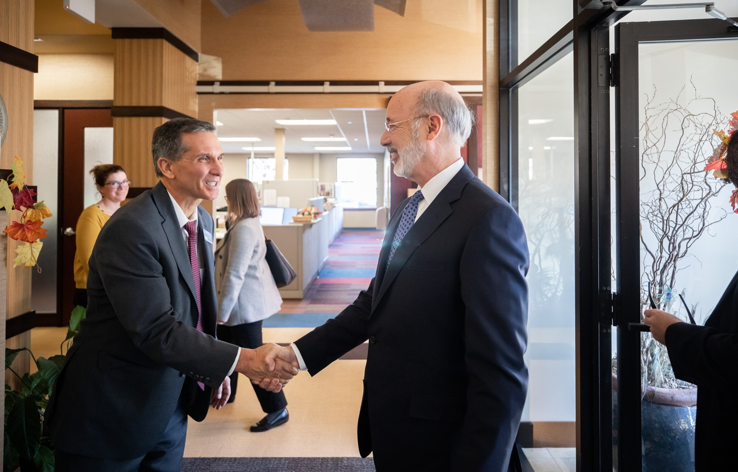 "<a href=""http://filesource.abacast.com/commonwealthofpa/photo/17598_gov_charter_schools_dz_013.jpg"" target=""_blank"">⇣ Download Photo<br></a>Pennsylvania Governor Tom Wolf Greeting Dr. Mark DiRocco, Executive Director of the Pennsylvania Association of School Administrators. Governor Tom Wolfs commonsense plan to improve the educational quality of charter schools and control rising costs will save nearly $280 million a year, the governor told the Pennsylvania Association of School Administrators today. The governor has a three-part plan to fix Pennsylvanias charter school law which is regarded as one of the worst in the nation.  - Harrisburg, PA. Friday, November 15, 2019."