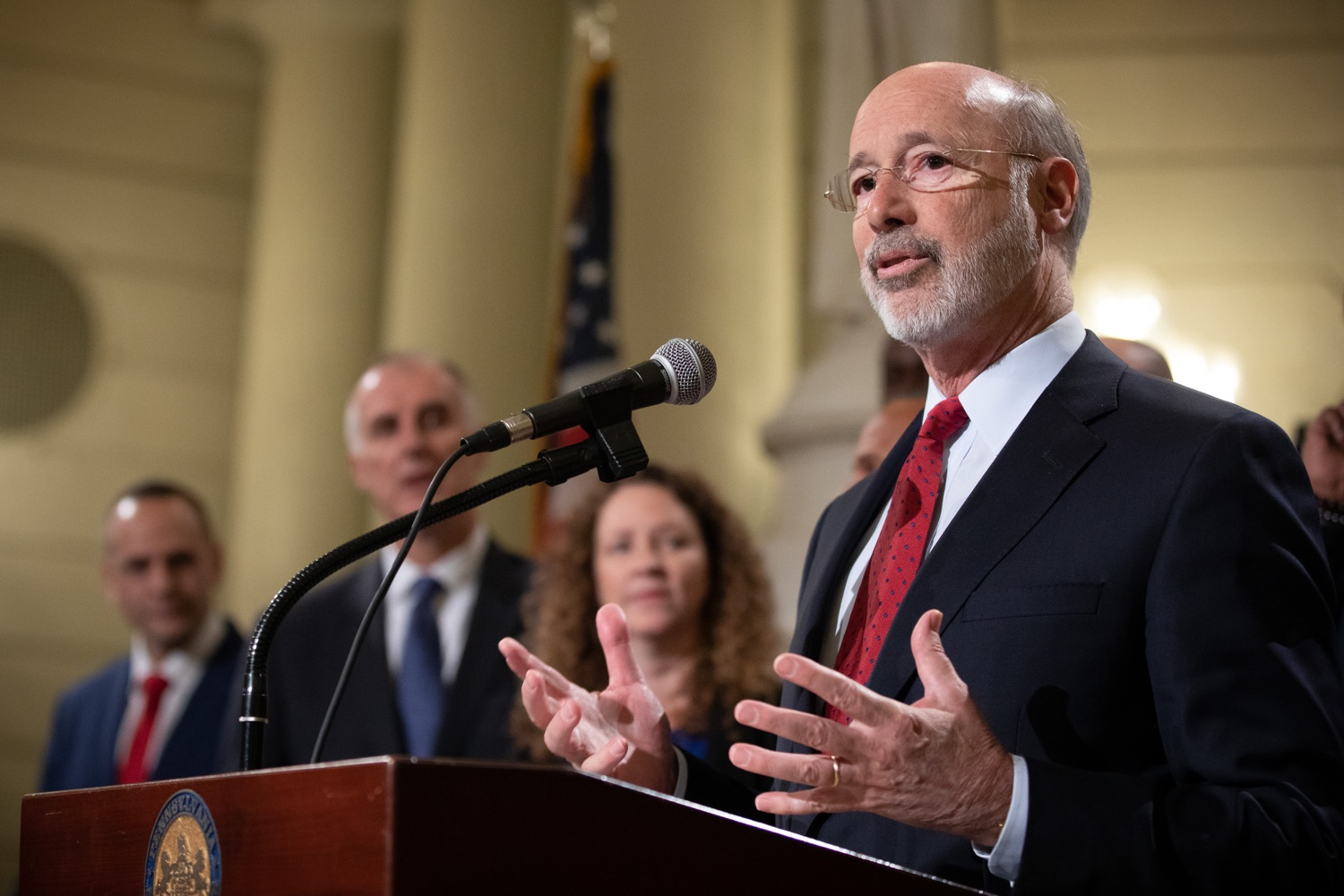 """<a href=""""http://filesource.abacast.com/commonwealthofpa/photo/17601_gov_right_on_crime_dz_001.jpg"""" target=""""_blank"""">⇣Download Photo<br></a>Governor Tom Wolf speaking at the event. Governor Tom Wolf was joined by Deputy Secretary of Corrections Christian Stephens and national criminal justice reform advocates today in the Capitol Rotunda to push for commonsense probation reforms that address probation sentences and probation lengths.  Harrisburg, PA  November 18, 2019"""