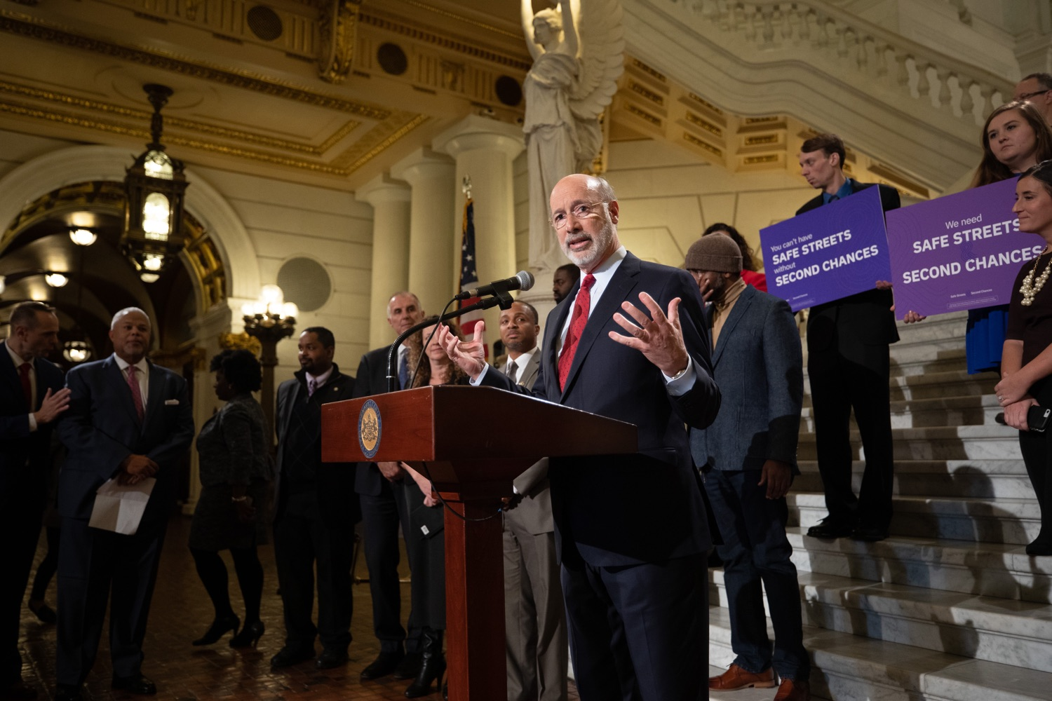 """<a href=""""http://filesource.abacast.com/commonwealthofpa/photo/17601_gov_right_on_crime_dz_002.jpg"""" target=""""_blank"""">⇣Download Photo<br></a>Governor Tom Wolf speaking at the event. Governor Tom Wolf was joined by Deputy Secretary of Corrections Christian Stephens and national criminal justice reform advocates today in the Capitol Rotunda to push for commonsense probation reforms that address probation sentences and probation lengths.  Harrisburg, PA  November 18, 2019"""