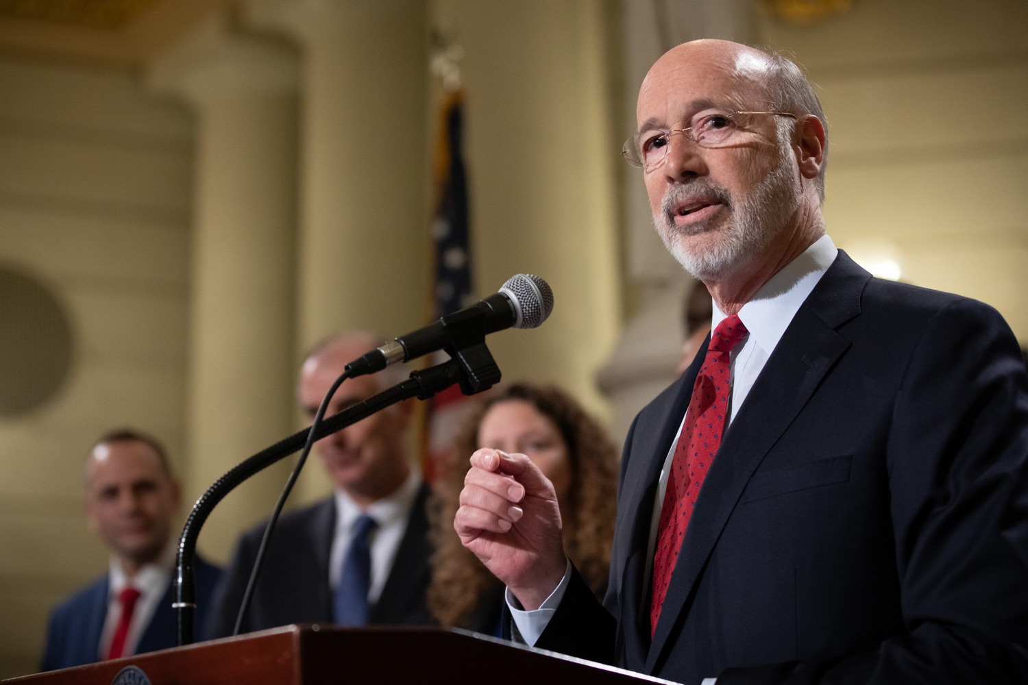 """<a href=""""http://filesource.abacast.com/commonwealthofpa/photo/17601_gov_right_on_crime_dz_009.jpg"""" target=""""_blank"""">⇣Download Photo<br></a>Governor Tom Wolf speaking at the event. Governor Tom Wolf was joined by Deputy Secretary of Corrections Christian Stephens and national criminal justice reform advocates today in the Capitol Rotunda to push for commonsense probation reforms that address probation sentences and probation lengths.  Harrisburg, PA  November 18, 2019"""