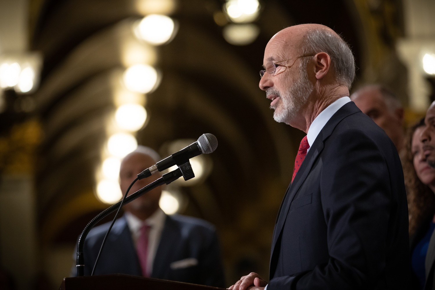 """<a href=""""http://filesource.abacast.com/commonwealthofpa/photo/17601_gov_right_on_crime_dz_014.jpg"""" target=""""_blank"""">⇣Download Photo<br></a>Governor Tom Wolf speaking at the event. Governor Tom Wolf was joined by Deputy Secretary of Corrections Christian Stephens and national criminal justice reform advocates today in the Capitol Rotunda to push for commonsense probation reforms that address probation sentences and probation lengths.  Harrisburg, PA  November 18, 2019"""