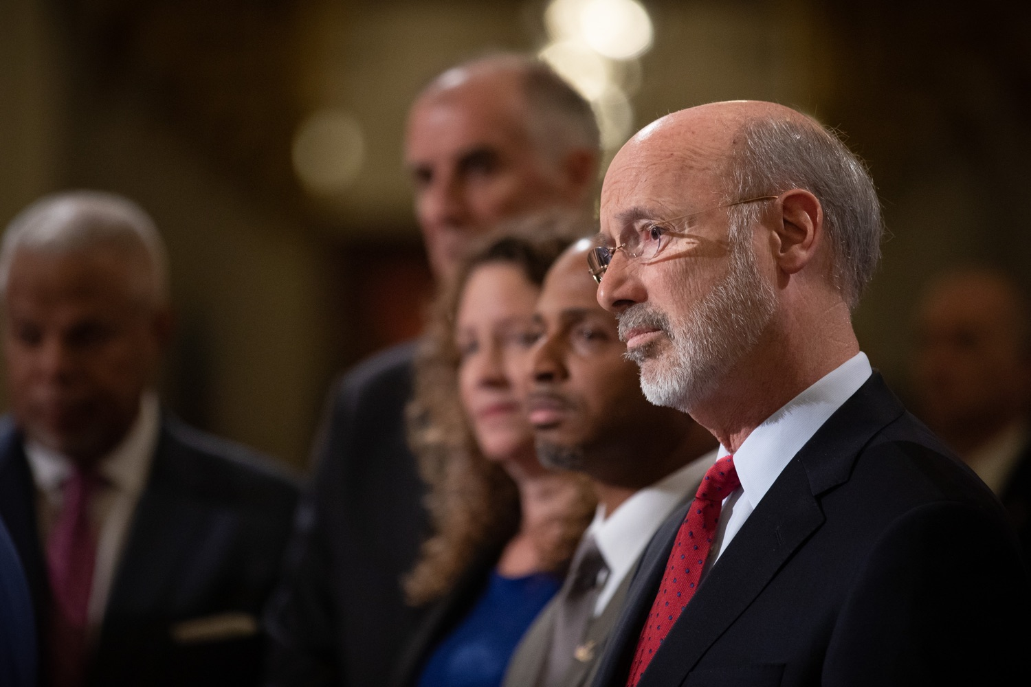"""<a href=""""http://filesource.abacast.com/commonwealthofpa/photo/17601_gov_right_on_crime_dz_016.jpg"""" target=""""_blank"""">⇣Download Photo<br></a>Governor Tom Wolf listening to speakers at the event.Governor Tom Wolf was joined by Deputy Secretary of Corrections Christian Stephens and national criminal justice reform advocates today in the Capitol Rotunda to push for commonsense probation reforms that address probation sentences and probation lengths.  Harrisburg, PA  November 18, 2019"""