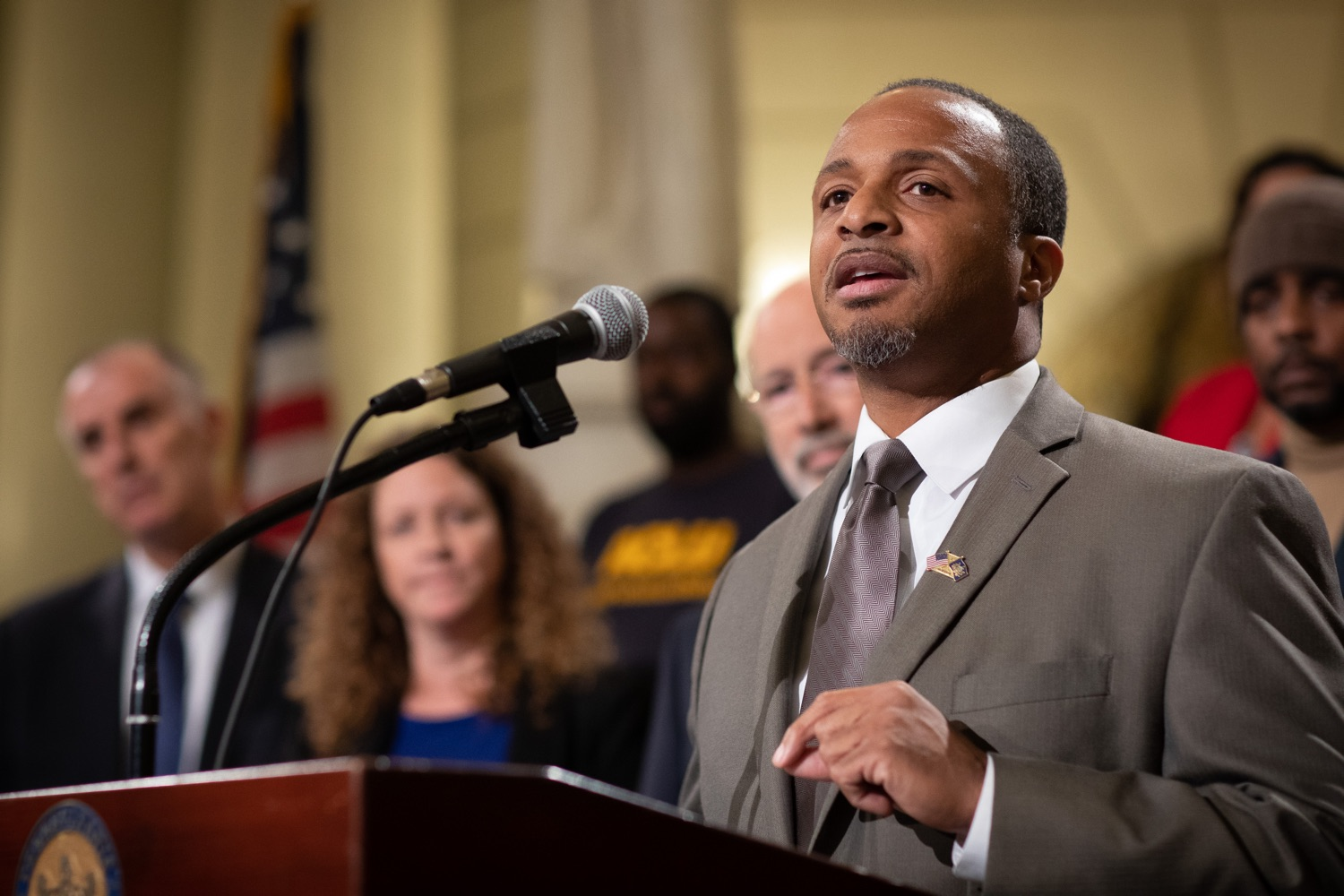 """<a href=""""http://filesource.abacast.com/commonwealthofpa/photo/17601_gov_right_on_crime_dz_019.jpg"""" target=""""_blank"""">⇣Download Photo<br></a>Deputy Secretary of Corrections Christian Stephens speaking at the event. Governor Tom Wolf was joined by Deputy Secretary of Corrections Christian Stephens and national criminal justice reform advocates today in the Capitol Rotunda to push for commonsense probation reforms that address probation sentences and probation lengths.  Harrisburg, PA  November 18, 2019"""