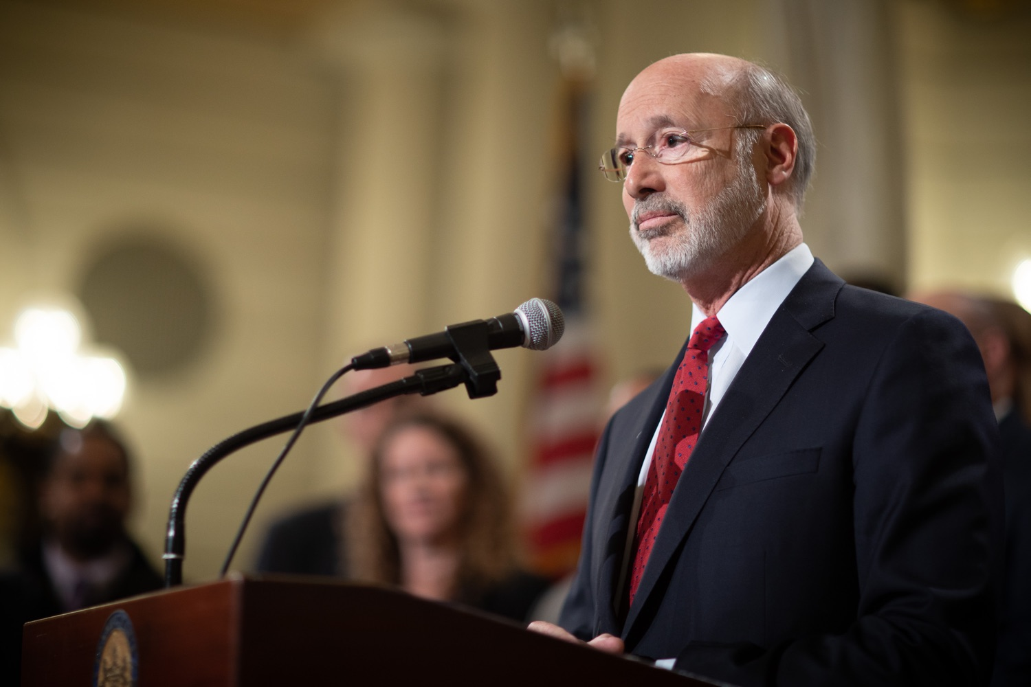 """<a href=""""http://filesource.abacast.com/commonwealthofpa/photo/17601_gov_right_on_crime_dz_020.jpg"""" target=""""_blank"""">⇣Download Photo<br></a>Governor Tom Wolf speaking at the event. Governor Tom Wolf was joined by Deputy Secretary of Corrections Christian Stephens and national criminal justice reform advocates today in the Capitol Rotunda to push for commonsense probation reforms that address probation sentences and probation lengths.  Harrisburg, PA  November 18, 2019"""
