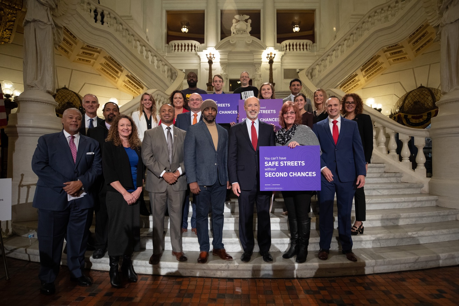 """<a href=""""http://filesource.abacast.com/commonwealthofpa/photo/17601_gov_right_on_crime_dz_022.jpg"""" target=""""_blank"""">⇣Download Photo<br></a>Governor Tom Wolf posing for photos after at the event. Governor Tom Wolf was joined by Deputy Secretary of Corrections Christian Stephens and national criminal justice reform advocates today in the Capitol Rotunda to push for commonsense probation reforms that address probation sentences and probation lengths.  Harrisburg, PA  November 18, 2019"""