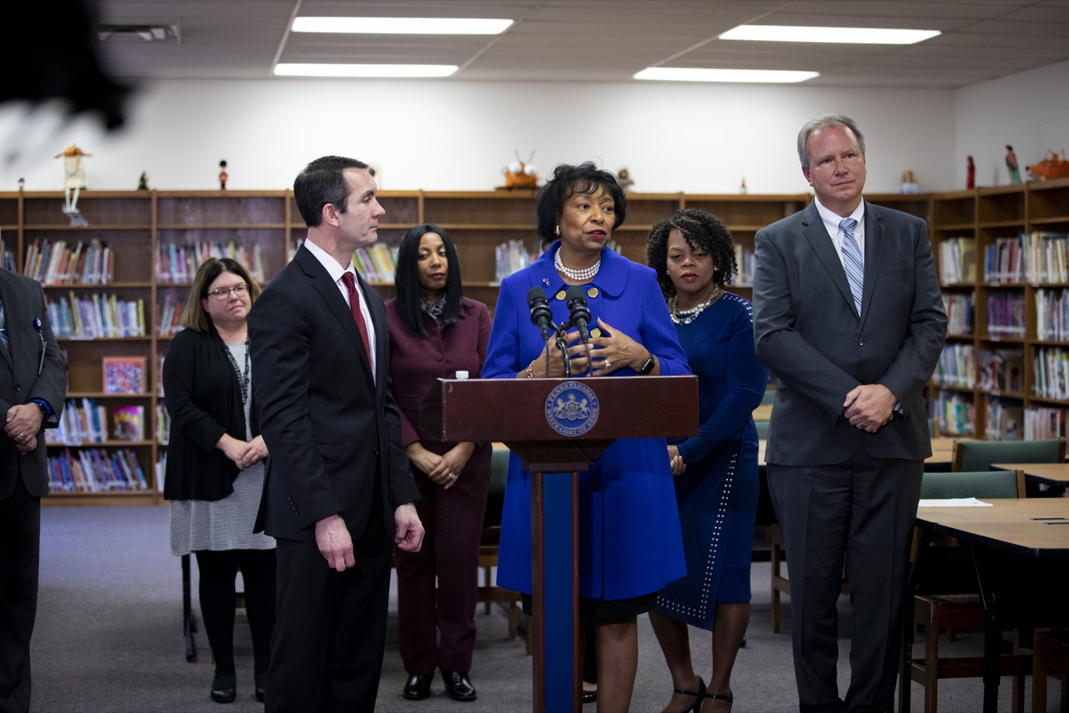"""<a href=""""http://filesource.abacast.com/commonwealthofpa/photo/17611_AUD_GEN_HBG_AUDIT_UPDATE_CZ_13.JPG"""" target=""""_blank"""">⇣Download Photo<br></a>Harrisburg School District Receiver Janet C. Samuels affirms the district's commitment for continued improvement, at Foose Elementary School in Harrisburg on November 25, 2019."""