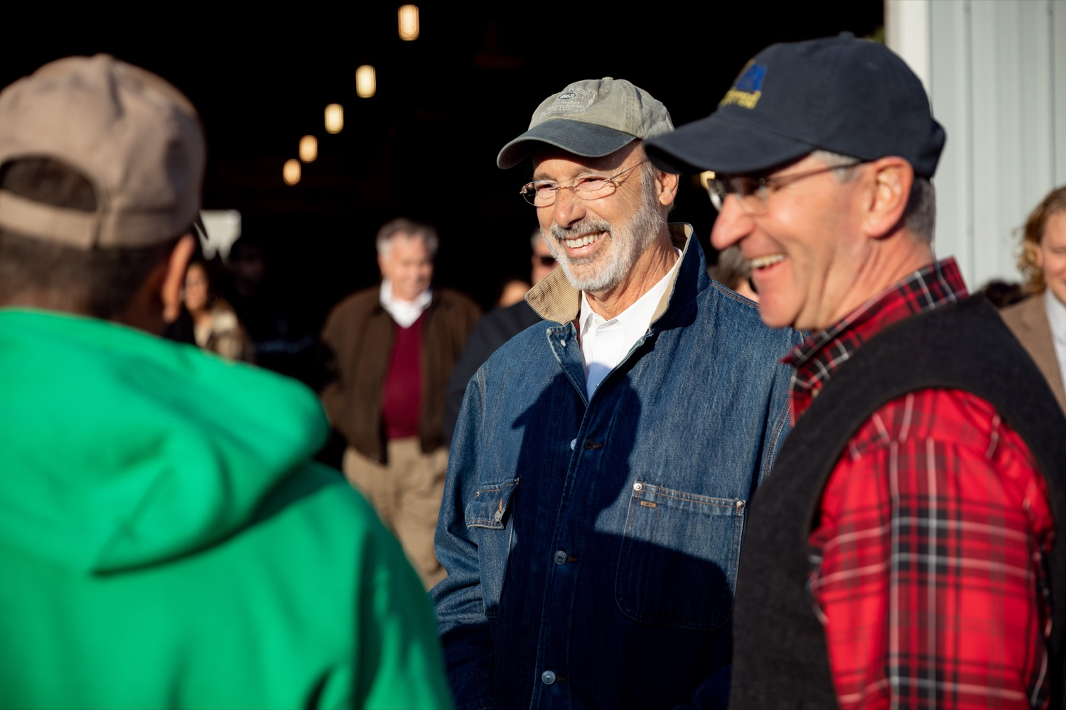 "<a href=""http://filesource.abacast.com/commonwealthofpa/photo/17615_GOV_AGRIC_Christmas_Trees_NK_002.JPG"" target=""_blank"">⇣ Download Photo<br></a>Pennsylvania Governor Tom Wolf, center, Pennsylvania Agriculture Secretary Russell Redding laugh together on Monday, November 25, 2019."