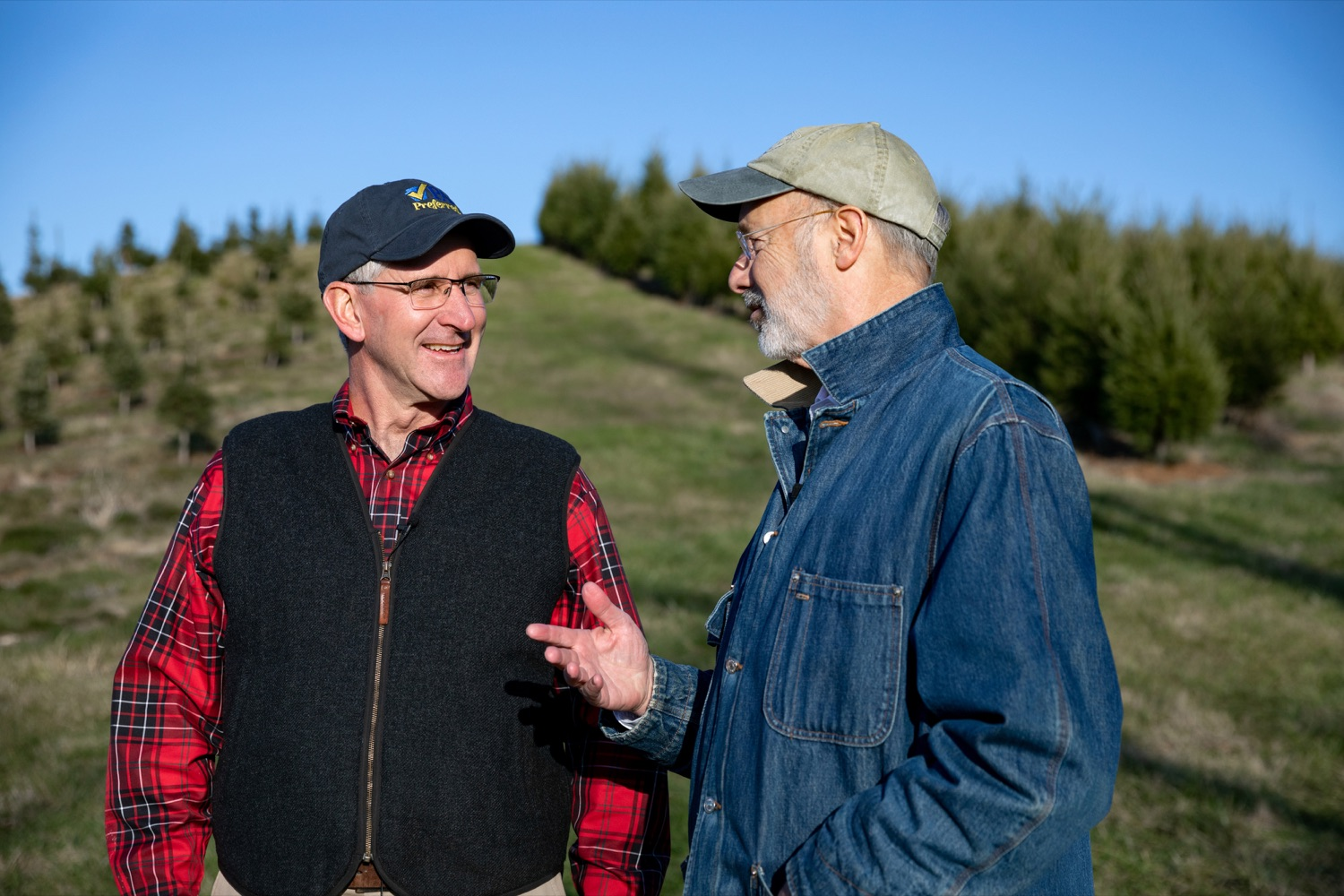 "<a href=""http://filesource.abacast.com/commonwealthofpa/photo/17615_GOV_AGRIC_Christmas_Trees_NK_004.JPG"" target=""_blank"">⇣ Download Photo<br></a>Pennsylvania Governor Tom Wolf, right, Pennsylvania Agriculture Secretary Russell Redding talk together on Monday, November 25, 2019."
