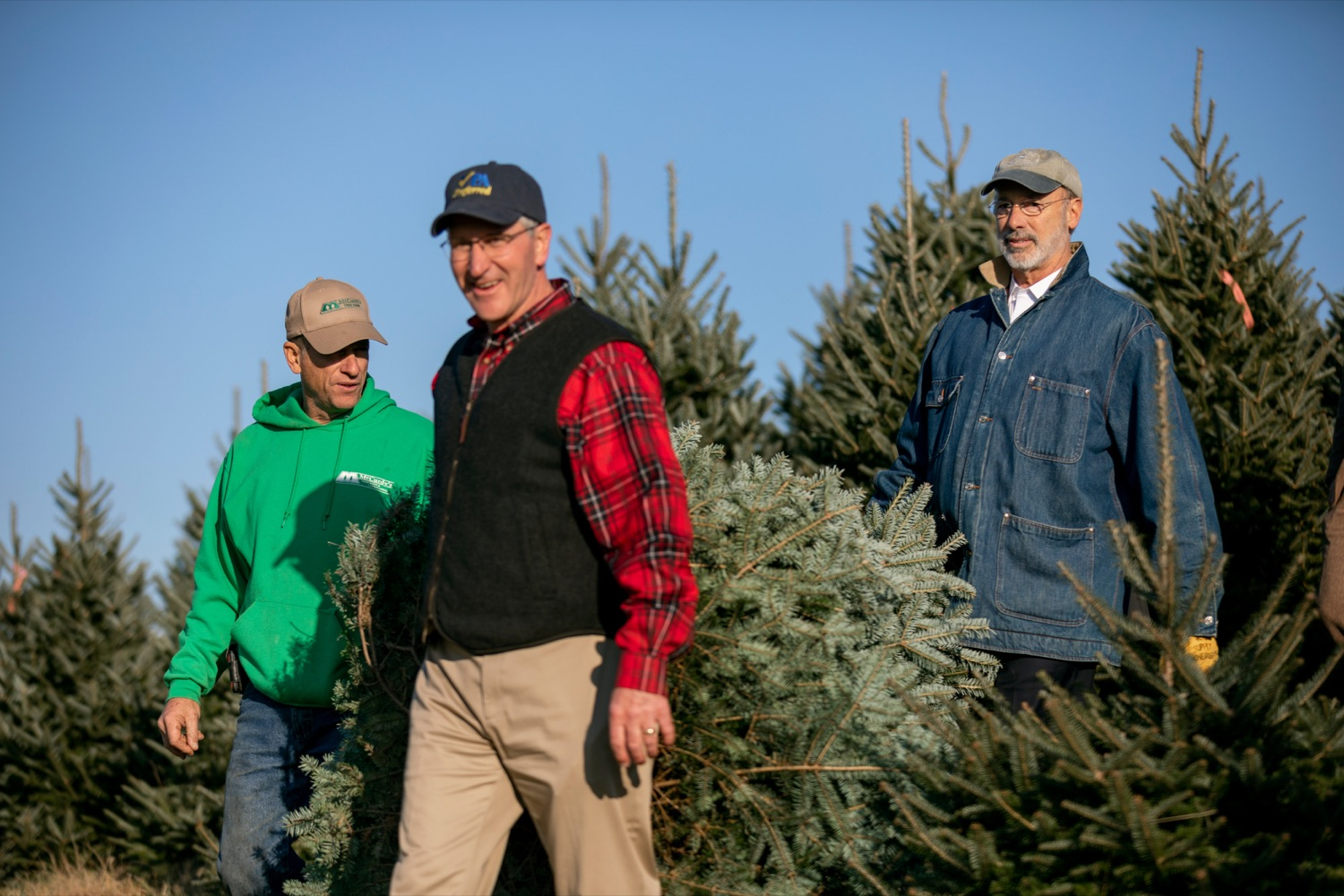 """<a href=""""http://filesource.abacast.com/commonwealthofpa/photo/17615_GOV_AGRIC_Christmas_Trees_NK_008.JPG"""" target=""""_blank"""">⇣Download Photo<br></a>Pennsylvania Governor Tom Wolf, right, Pennsylvania Agriculture Secretary Russell Redding, center, and Mark McCurdy, owner of McCurdy's Tree Farm & Landscaping, carry out a Christmas Tree on Monday, November 25, 2019."""