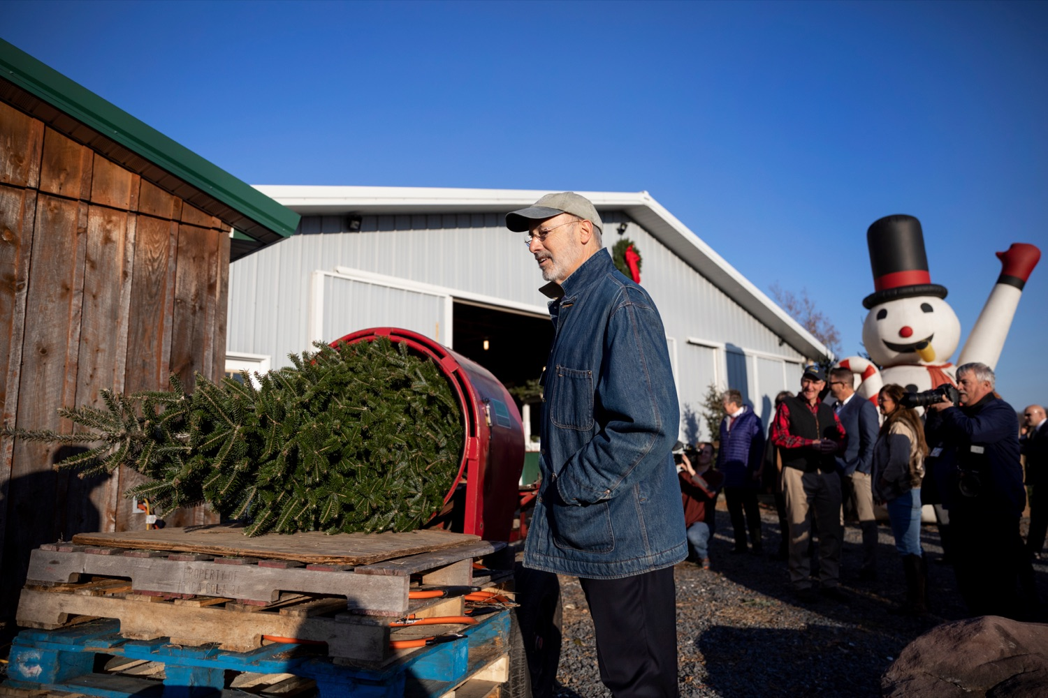 "<a href=""http://filesource.abacast.com/commonwealthofpa/photo/17615_GOV_AGRIC_Christmas_Trees_NK_011.JPG"" target=""_blank"">⇣ Download Photo<br></a>Pennsylvania Governor Tom Wolf checks out a Christmas tree on Monday, November 25, 2019."