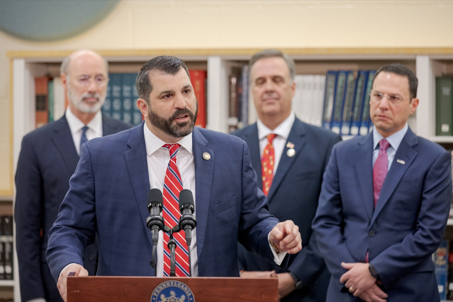 """<a href=""""http://filesource.abacast.com/commonwealthofpa/photo/17628_GOV_AG_Bill_Signing_NK_008.JPG"""" target=""""_blank"""">⇣Download Photo<br></a>State Rep. Mark Rozzi, a survivor of childhood sexual abuse, speaks before signing a package of three bills, which mirror three of the Grand Jurys recommendations on addressing the statute of limitations for victims of child sexual abuse, inside Muhlenberg High School on Tuesday, November 26, 2019. i"""