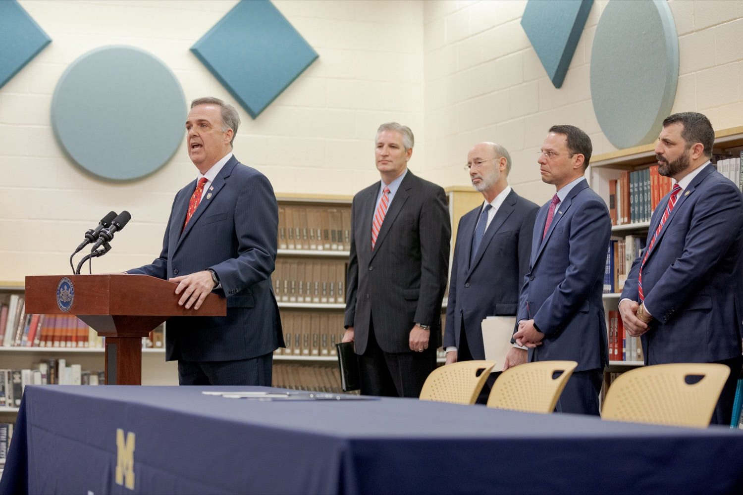 """<a href=""""http://filesource.abacast.com/commonwealthofpa/photo/17628_GOV_AG_Bill_Signing_NK_019.JPG"""" target=""""_blank"""">⇣Download Photo<br></a>State Rep. Jim Gregory speaks before signing a package of three bills, which mirror three of the Grand Jurys recommendations on addressing the statute of limitations for victims of child sexual abuse, inside Muhlenberg High School on Tuesday, November 26, 2019."""