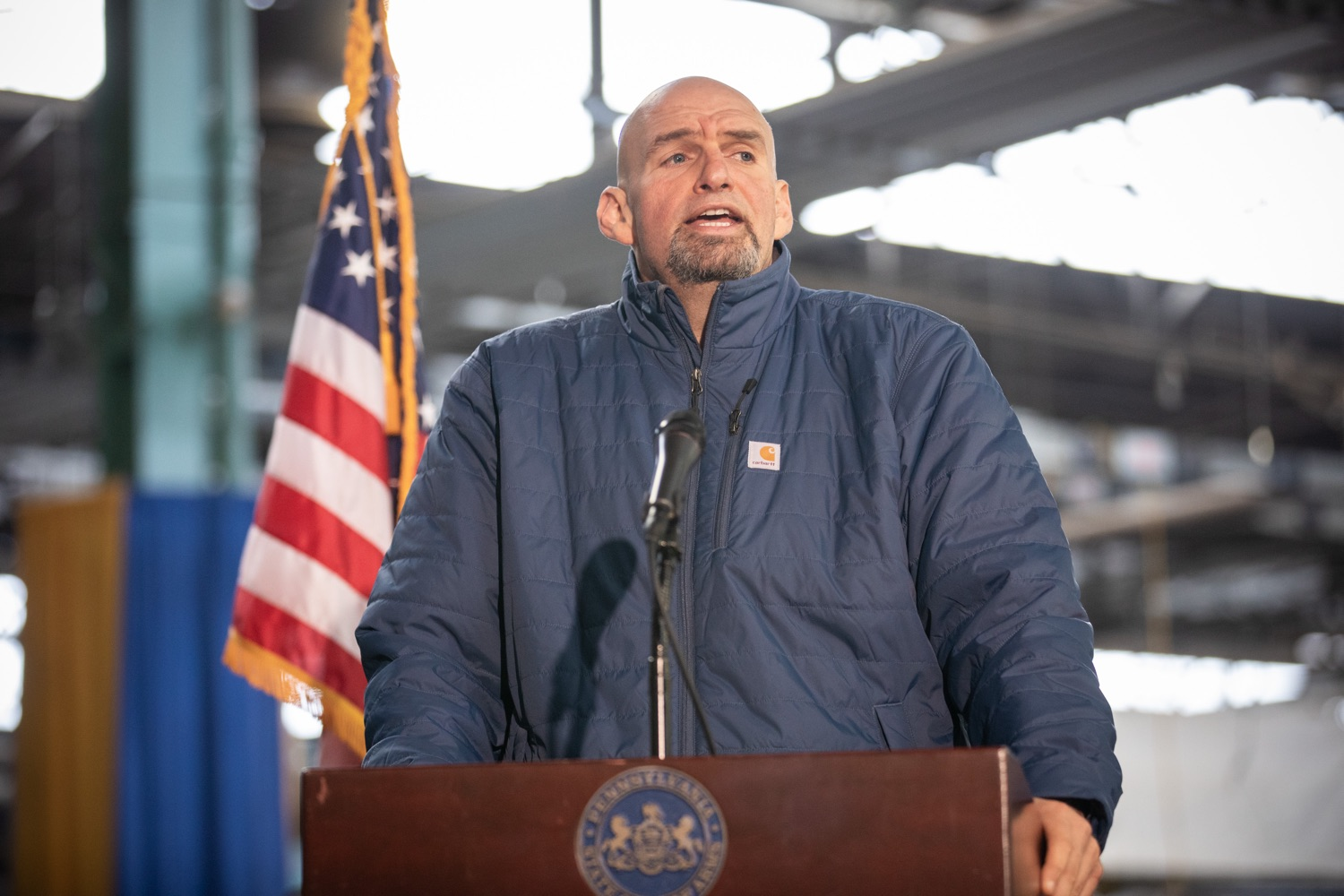 "<a href=""http://filesource.abacast.com/commonwealthofpa/photo/17646_agric_butter_sculpture_dz_011.jpg"" target=""_blank"">⇣ Download Photo<br></a>Lt. Governor John Fetterman speaking at the Pennsylvania Farm Show butter sculpture unveiling.Lt. Governor John Fetterman and Secretary of Agriculture Russell Redding today unveiled the 2020 Pennsylvania Farm Show butter sculpture, carved from a half-ton of butter depicting three of Pennsylvanias beloved professional sports mascots: Philadelphia Flyers Gritty, Philadelphia Eagles Swoop, and Pittsburgh Steelers Steely McBeam celebrating with a spread of Pennsylvania dairy products. The sculpture, a long-time Farm Show staple, encourages Pennsylvanians to be a fan of Pennsylvania dairy and give a cheer to the more than 6,200 dairy farmers in the commonwealth.  Harrisburg, PA  January 2, 2020"