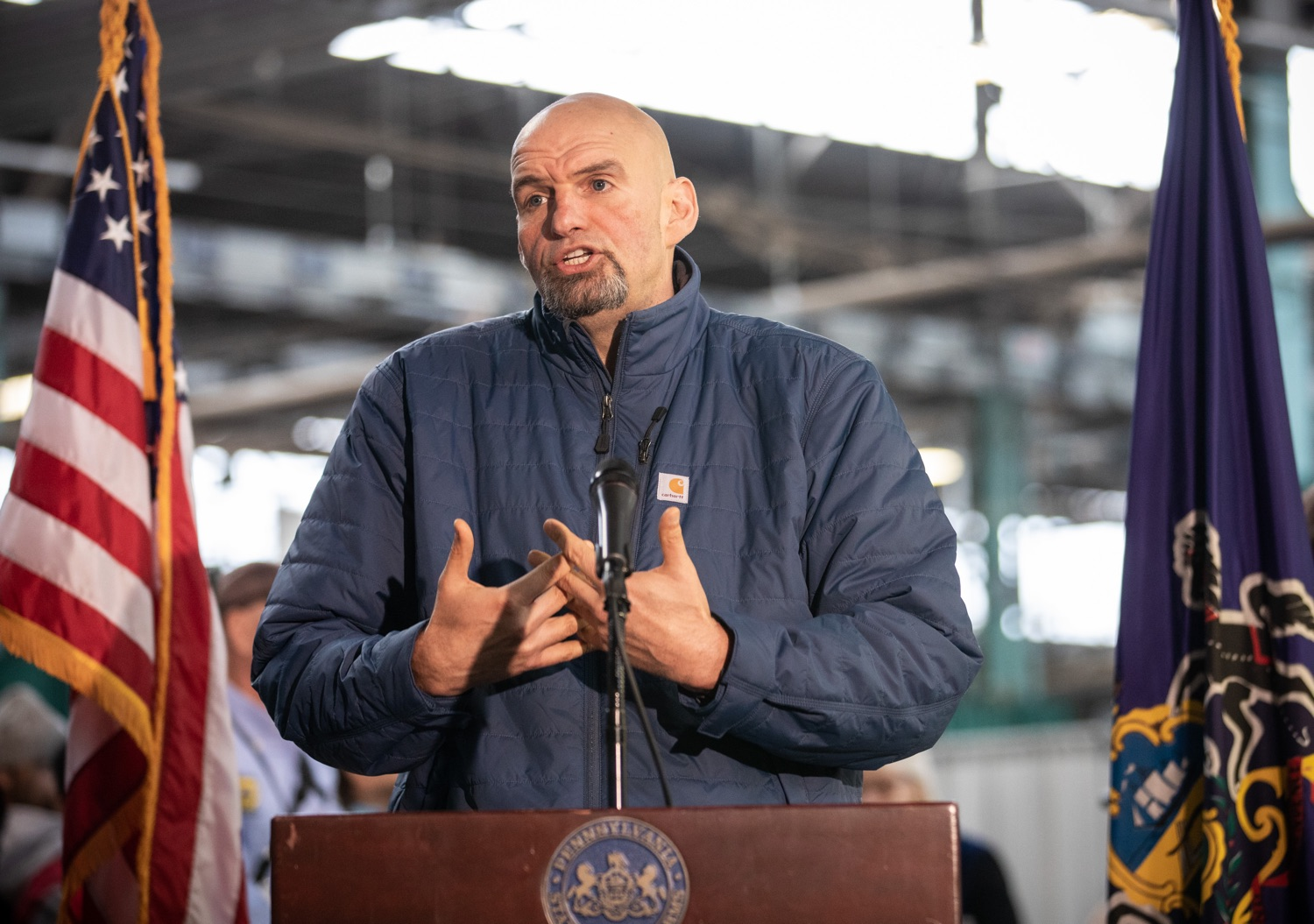 "<a href=""http://filesource.abacast.com/commonwealthofpa/photo/17646_agric_butter_sculpture_dz_016.jpg"" target=""_blank"">⇣ Download Photo<br></a>Lt. Governor John Fetterman speaking at the Pennsylvania Farm Show butter sculpture unveiling.Lt. Governor John Fetterman and Secretary of Agriculture Russell Redding today unveiled the 2020 Pennsylvania Farm Show butter sculpture, carved from a half-ton of butter depicting three of Pennsylvanias beloved professional sports mascots: Philadelphia Flyers Gritty, Philadelphia Eagles Swoop, and Pittsburgh Steelers Steely McBeam celebrating with a spread of Pennsylvania dairy products. The sculpture, a long-time Farm Show staple, encourages Pennsylvanians to be a fan of Pennsylvania dairy and give a cheer to the more than 6,200 dairy farmers in the commonwealth.  Harrisburg, PA  January 2, 2020"